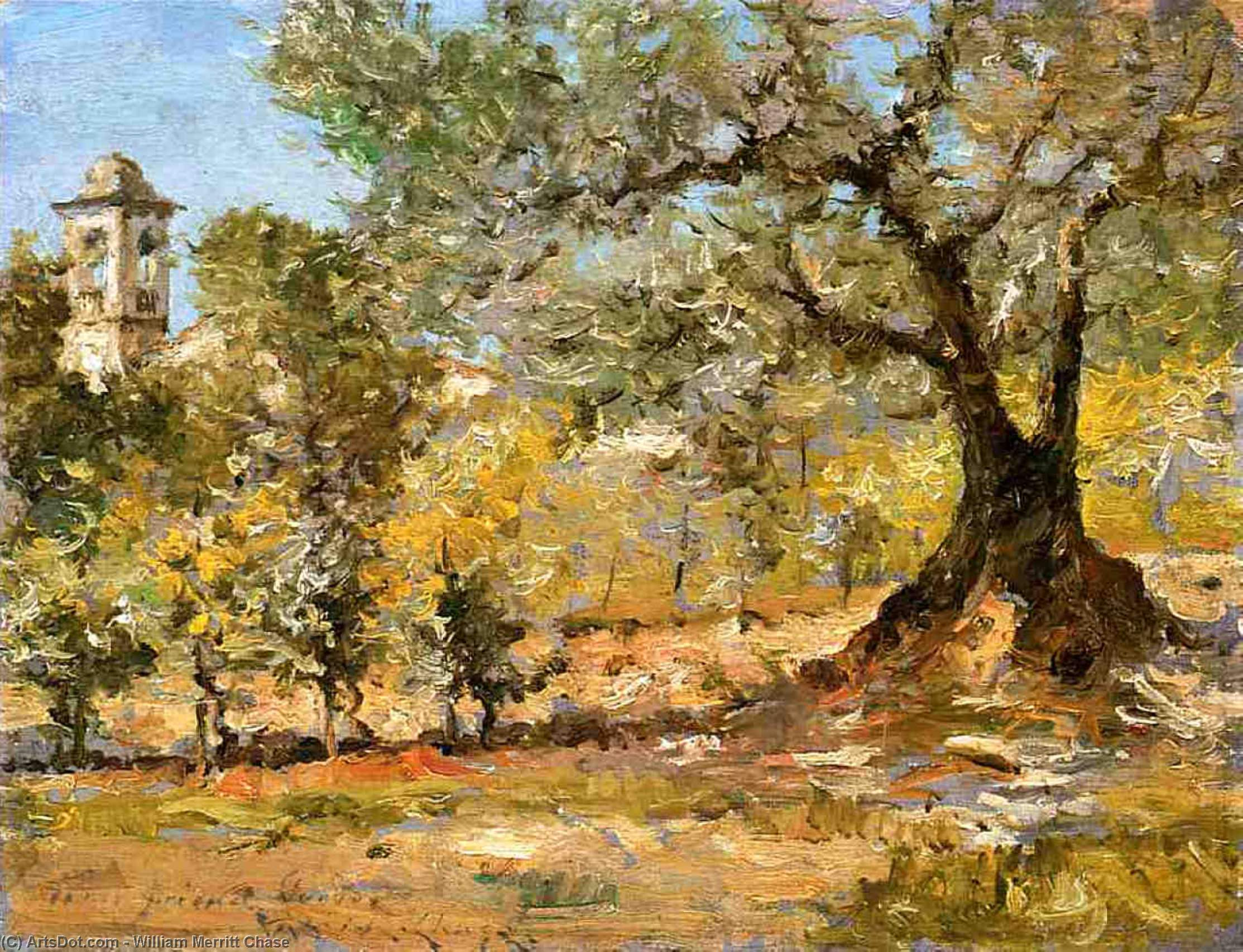 Olive Trees, Florence, Oil On Panel by William Merritt Chase (1849-1916, United States)
