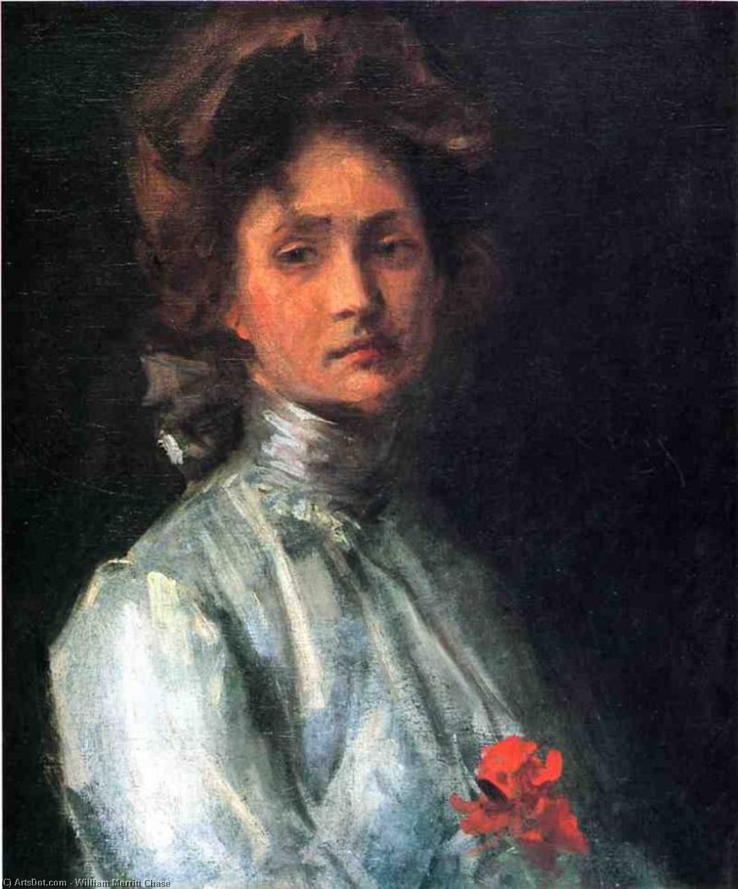 Portrait of a Young Woman, Oil On Canvas by William Merritt Chase (1849-1916, United States)