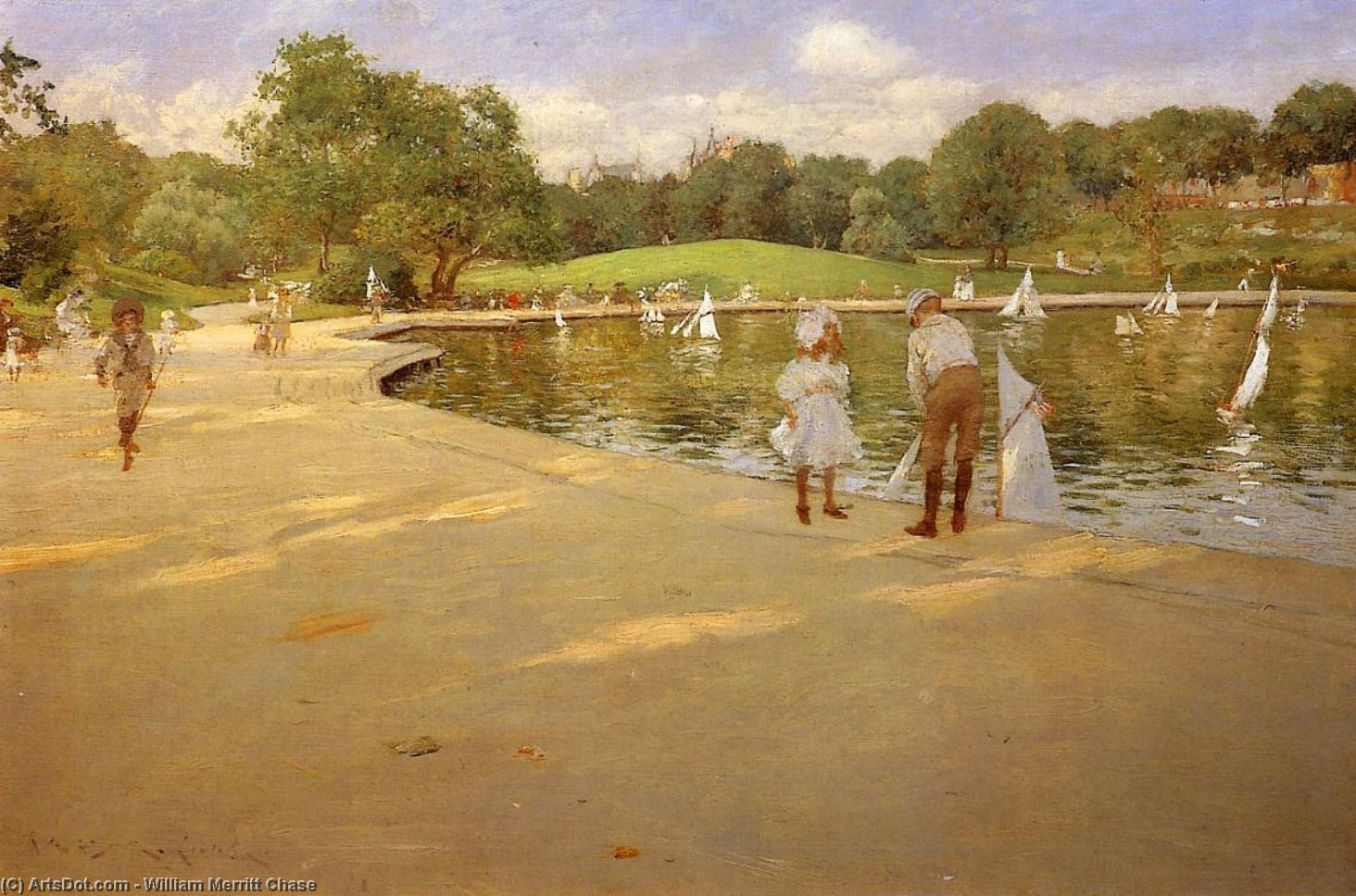 The Lake for Miniature Yachts, Oil On Canvas by William Merritt Chase (1849-1916, United States)