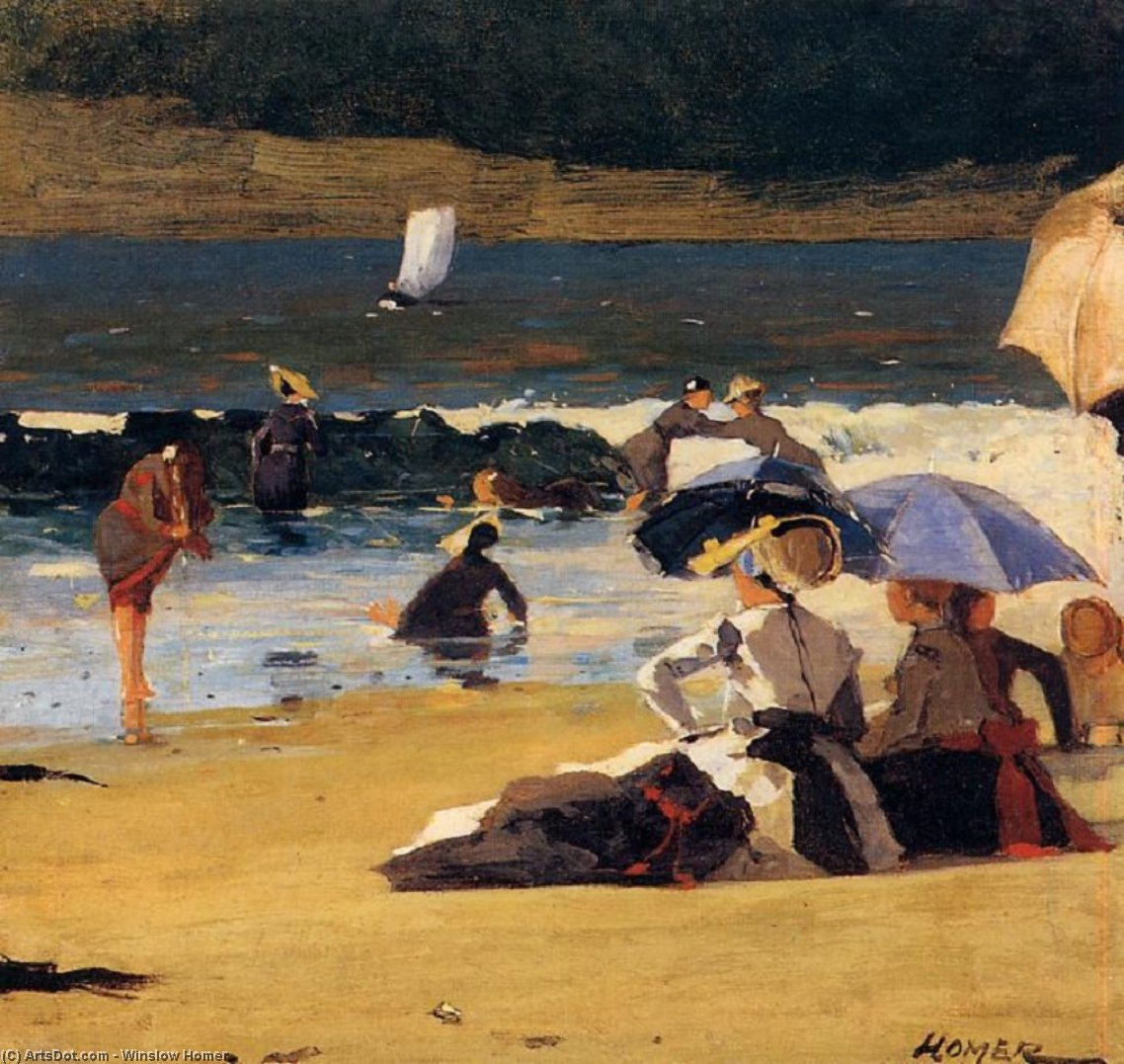 Buy Museum Art Reproductions | By the Shore by Winslow Homer (1836-1910, United States) | ArtsDot.com
