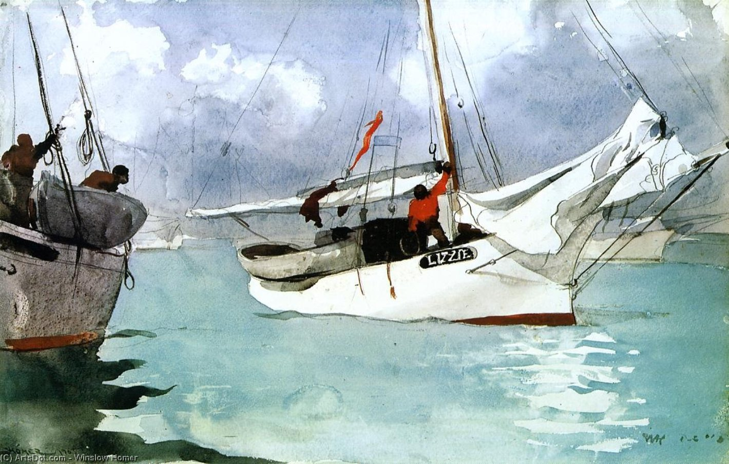 Fishing Boats, Key West, 1903 by Winslow Homer (1836-1910, United States) | Museum Art Reproductions | ArtsDot.com