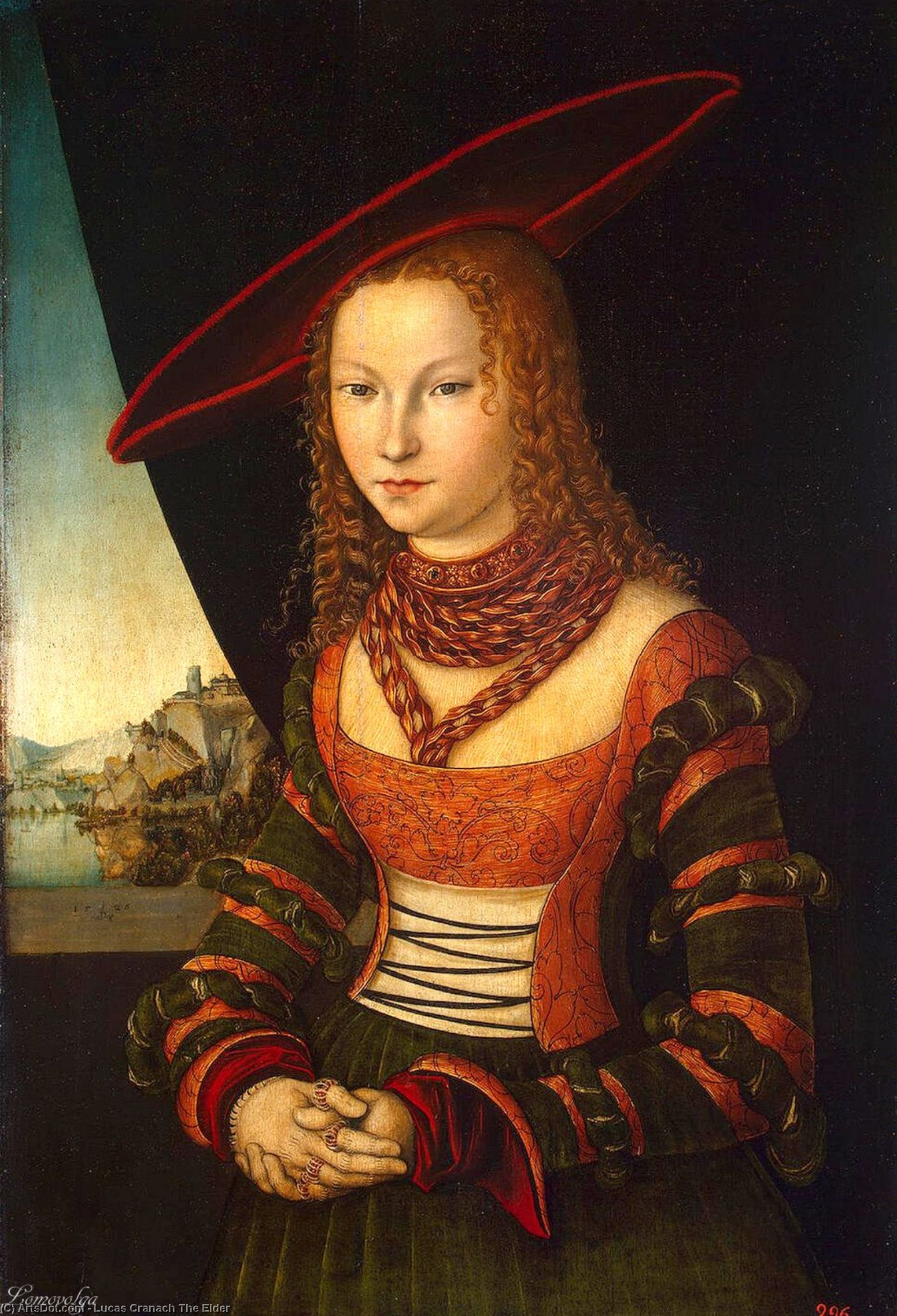 Portrait of a Woman, Oil by Lucas Cranach The Elder (1472-1553, Germany)