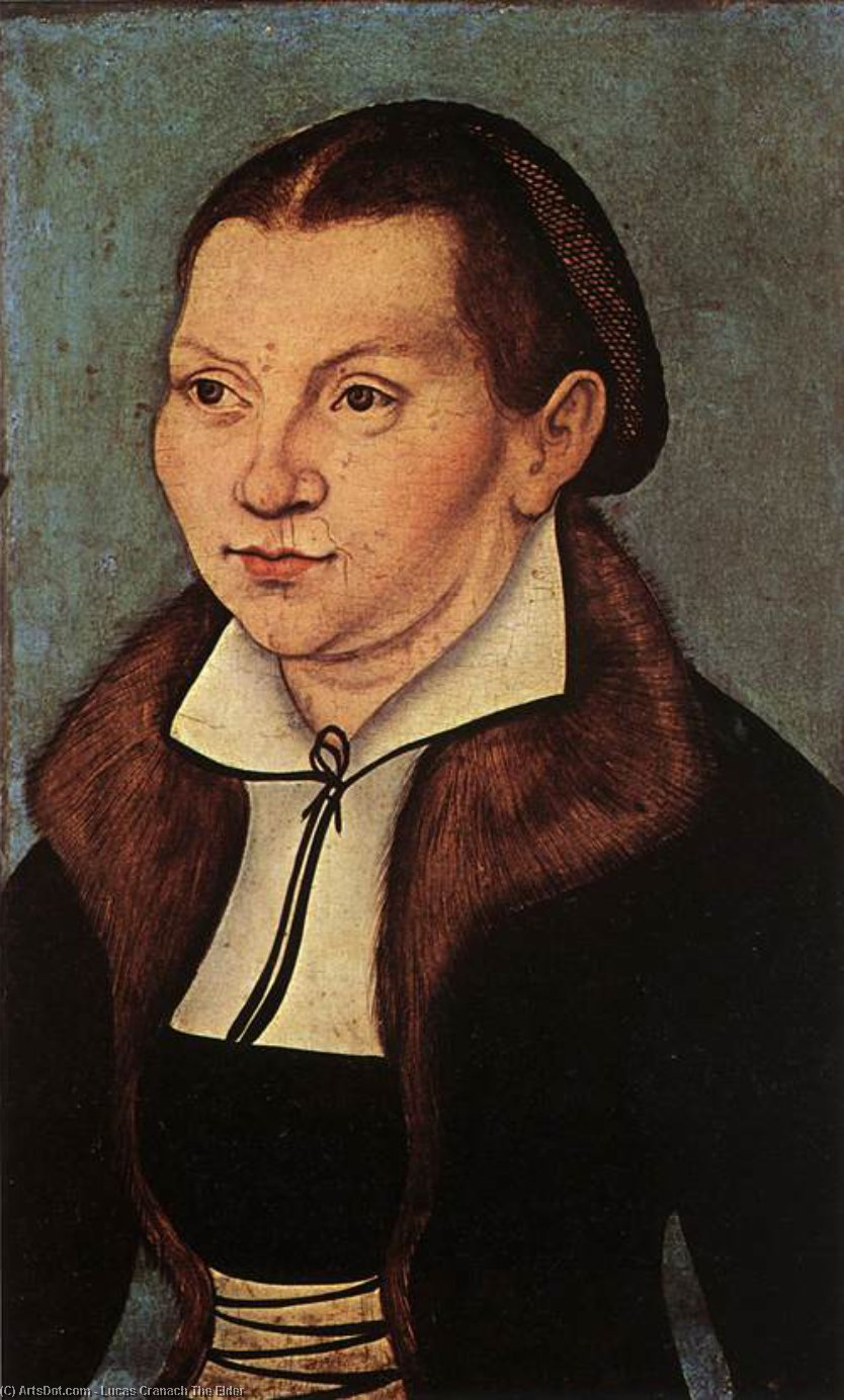 Portraits of Catherine Bore, Oil by Lucas Cranach The Elder (1472-1553, Germany)