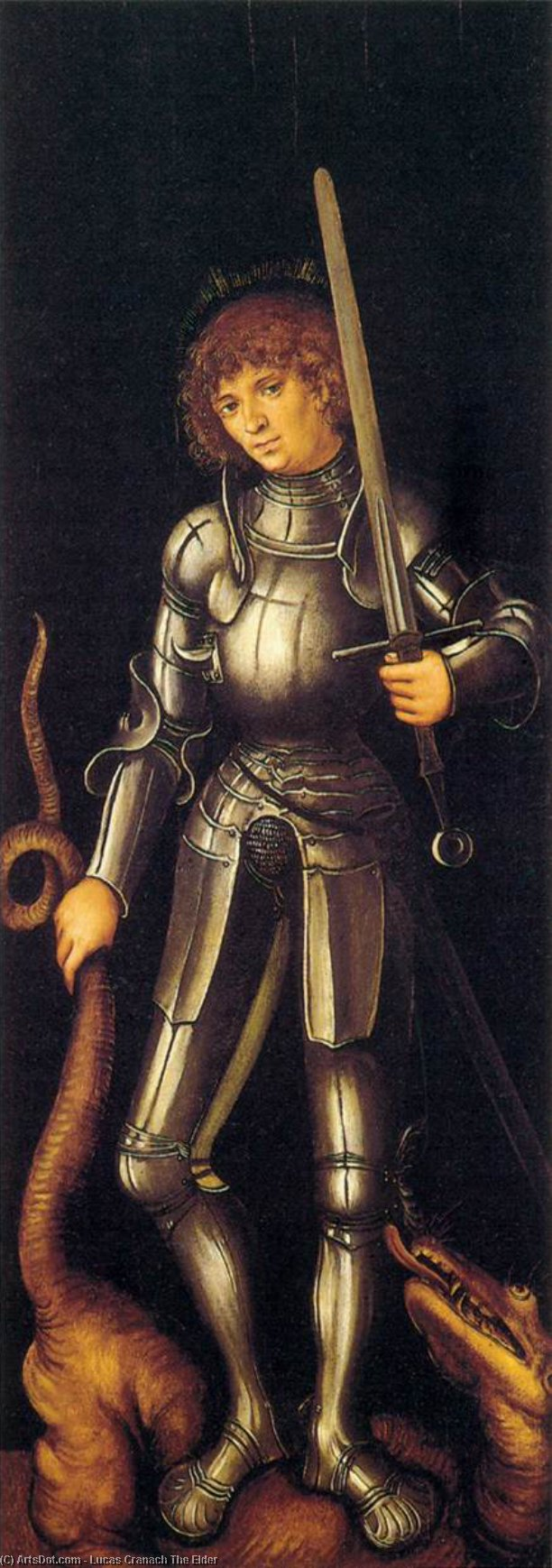 St. George, Oil by Lucas Cranach The Elder (1472-1553, Germany)