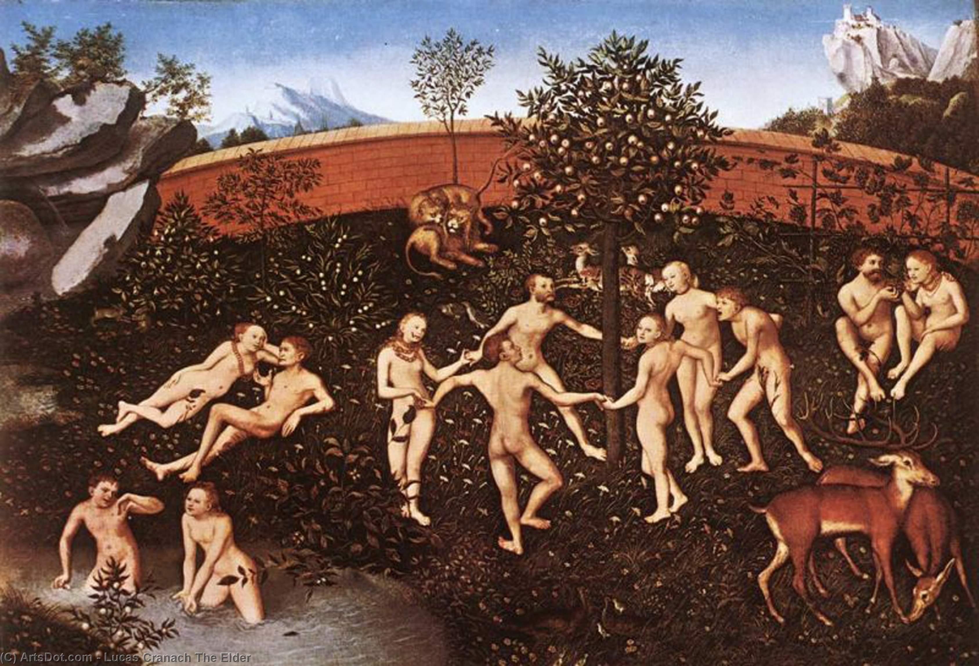 The Golden Age, Oil On Panel by Lucas Cranach The Elder (1472-1553, Germany)