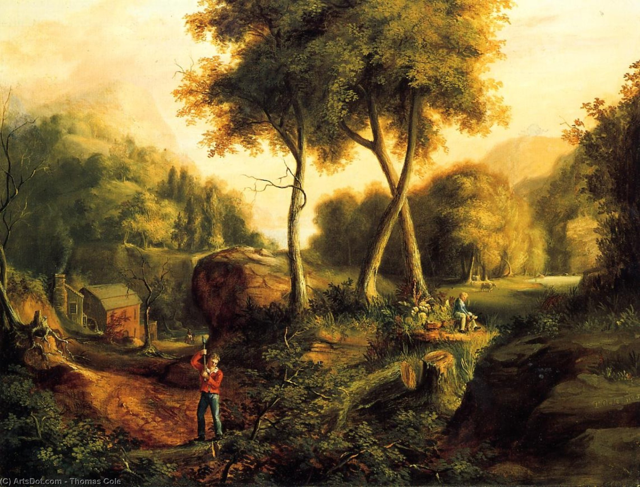 Landscape, Oil On Canvas by Thomas Cole (1801-1848, United Kingdom)