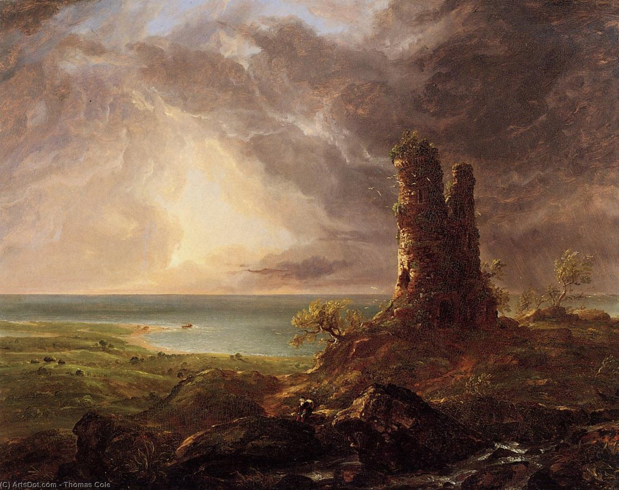 Romantic Landscape with Ruined Tower, Oil by Thomas Cole (1801-1848, United Kingdom)