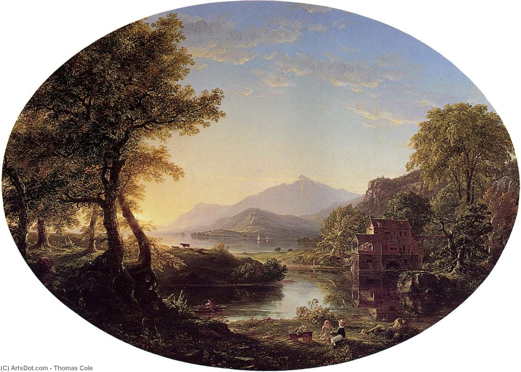 The Old Mill at Sunset, 1844 by Thomas Cole (1801-1848, United Kingdom) | Museum Art Reproductions Thomas Cole | ArtsDot.com