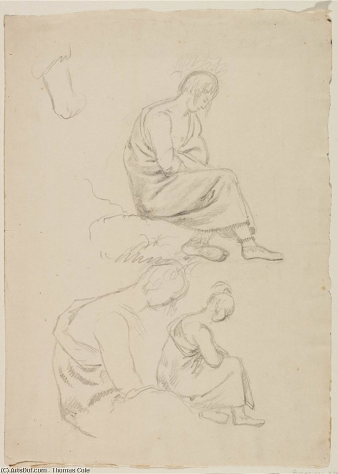 Three Studies of Seated Figure Covered with Robes, Oil by Thomas Cole (1801-1848, United Kingdom)