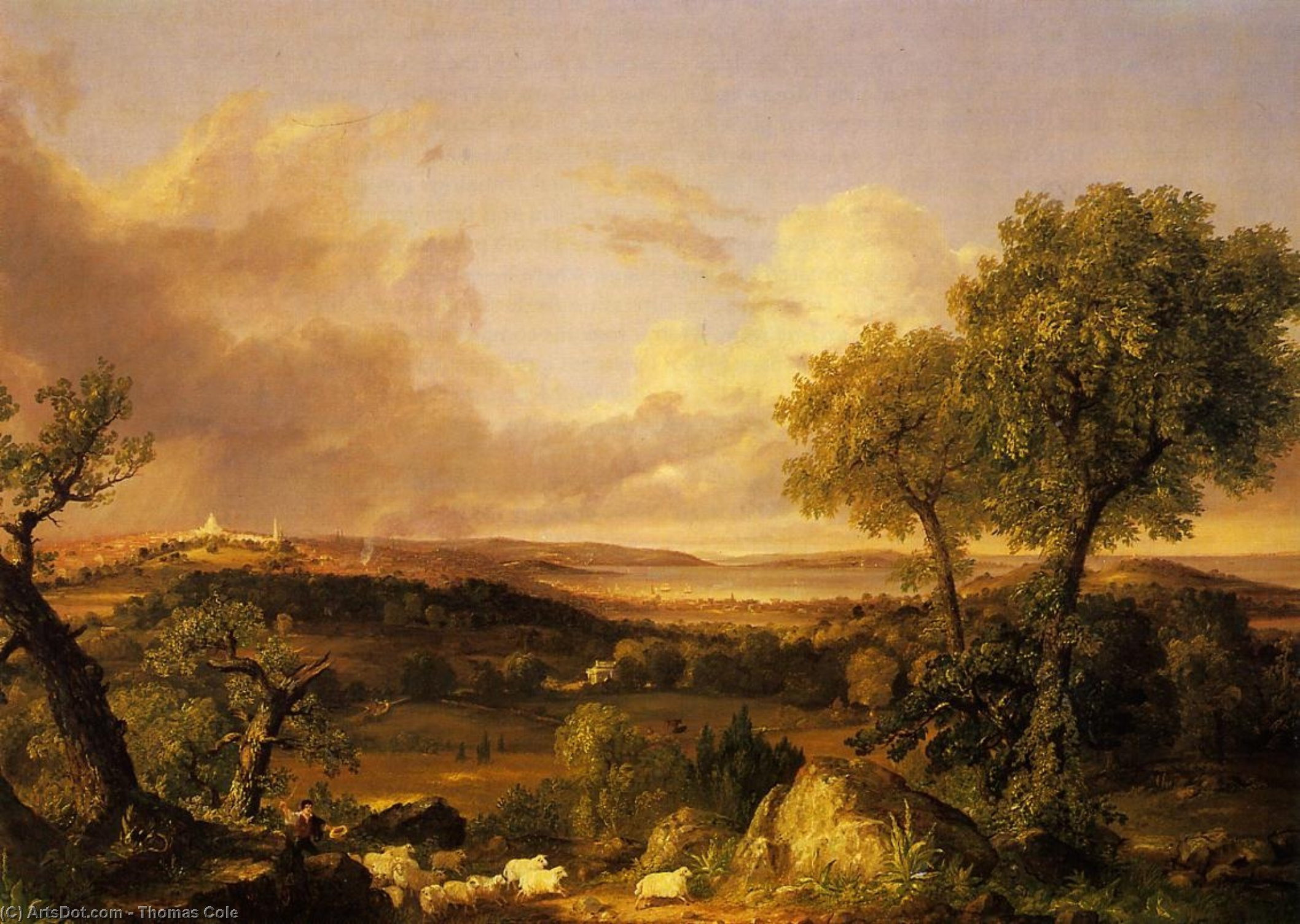 View of Boston, Oil On Canvas by Thomas Cole  (order Fine Art Hand Painted Oil Painting Thomas Cole)