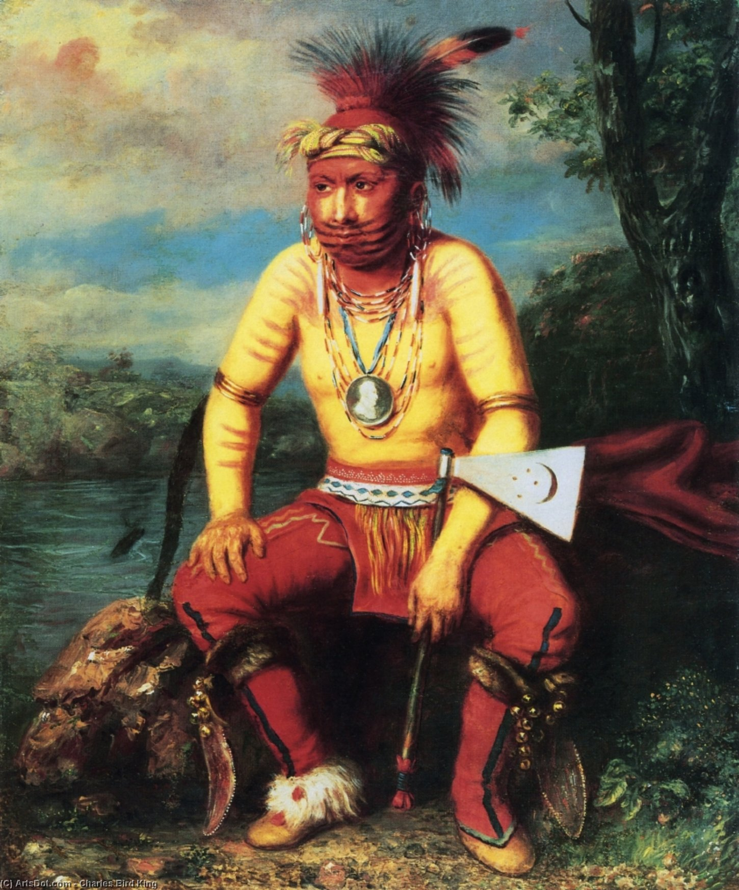 Nesouaquoit (Bear in the Fork of a Tree), A Fox Chief, Oil On Canvas by Charles Bird King (1785-1862, United States)