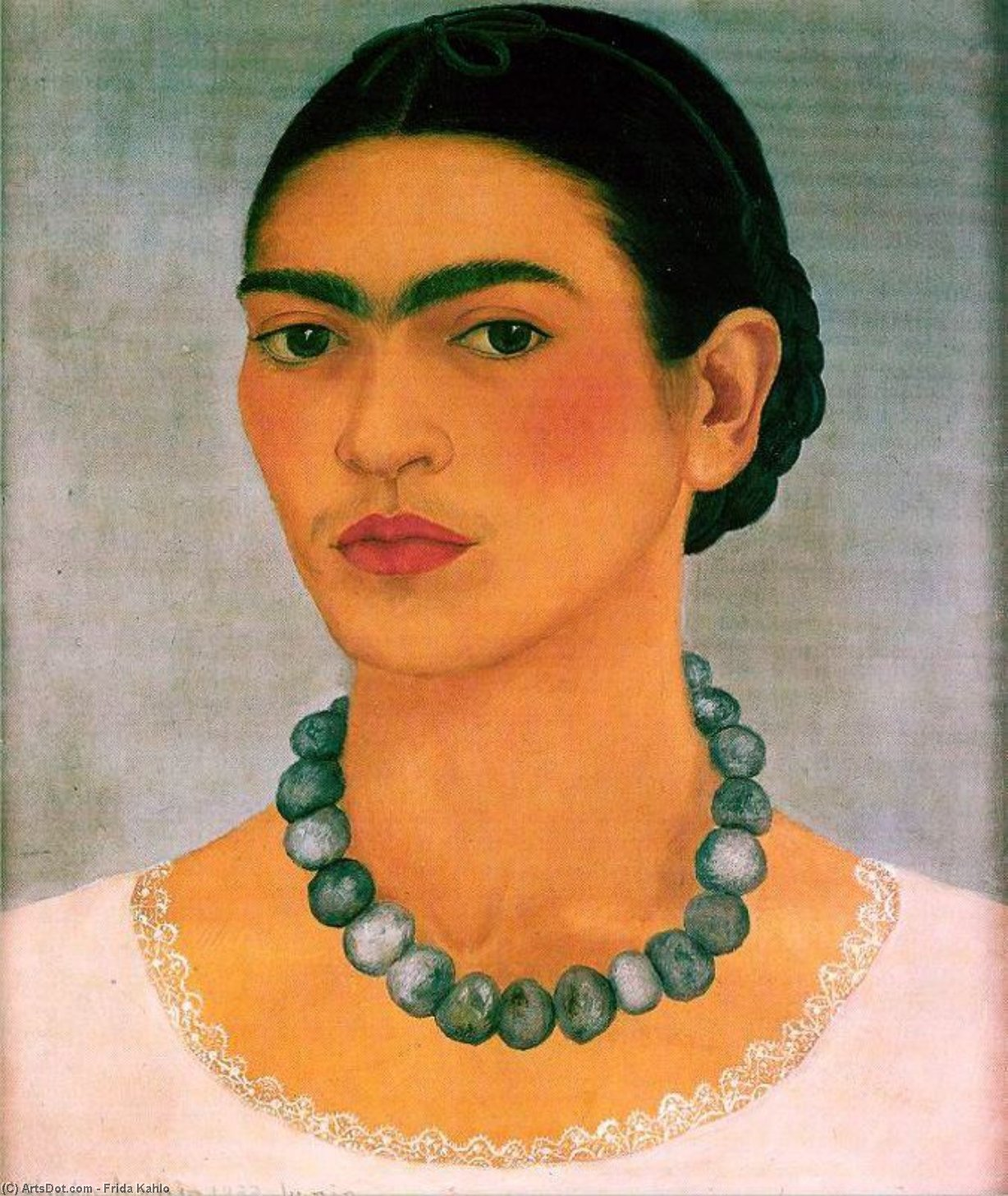 Portrait with Heavy Necklace, Oil by Frida Kahlo (1907-1954, Mexico)
