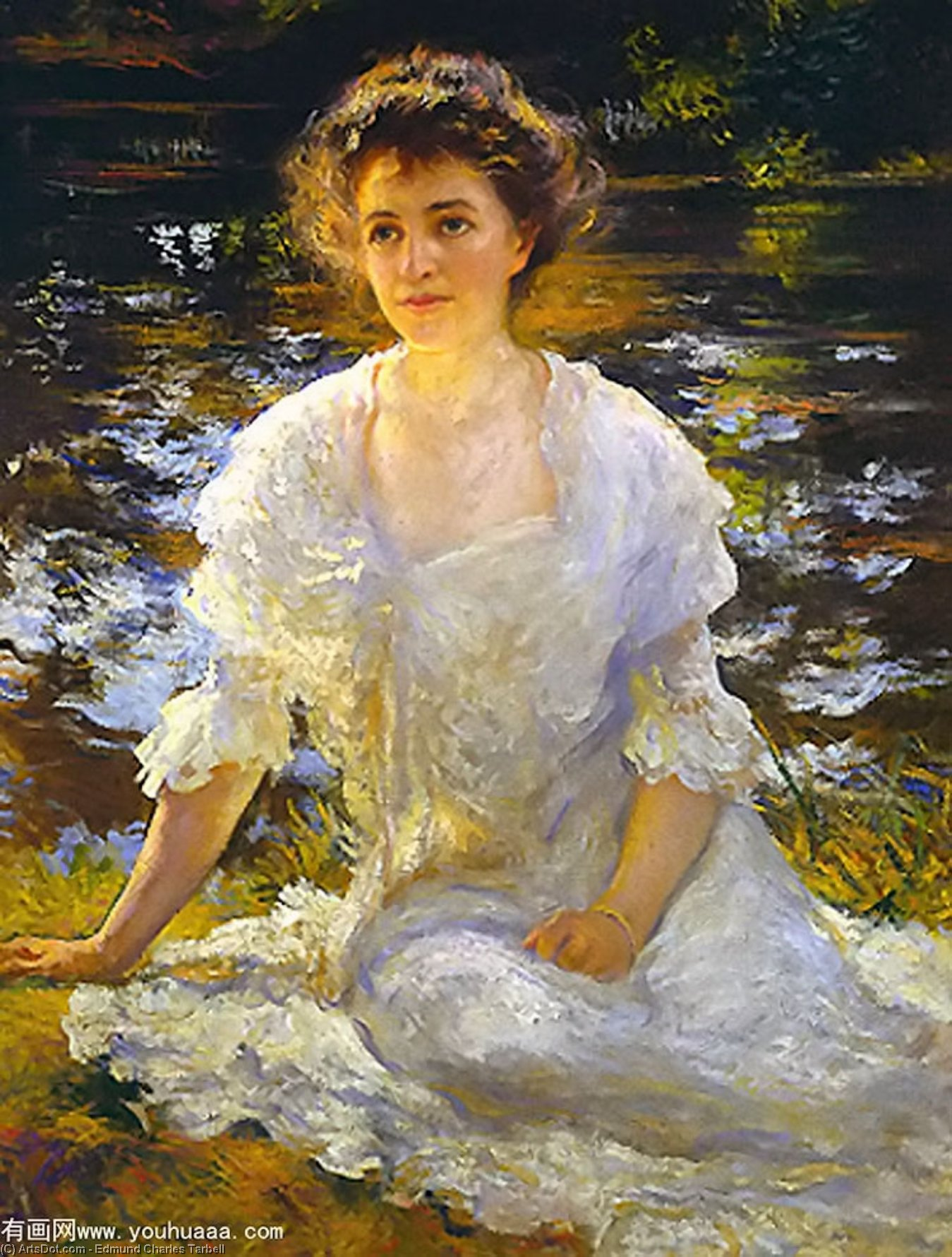 Portrait of Elanor Hyde Phillips, Oil On Canvas by Edmund Charles Tarbell (1862-1938, United States)