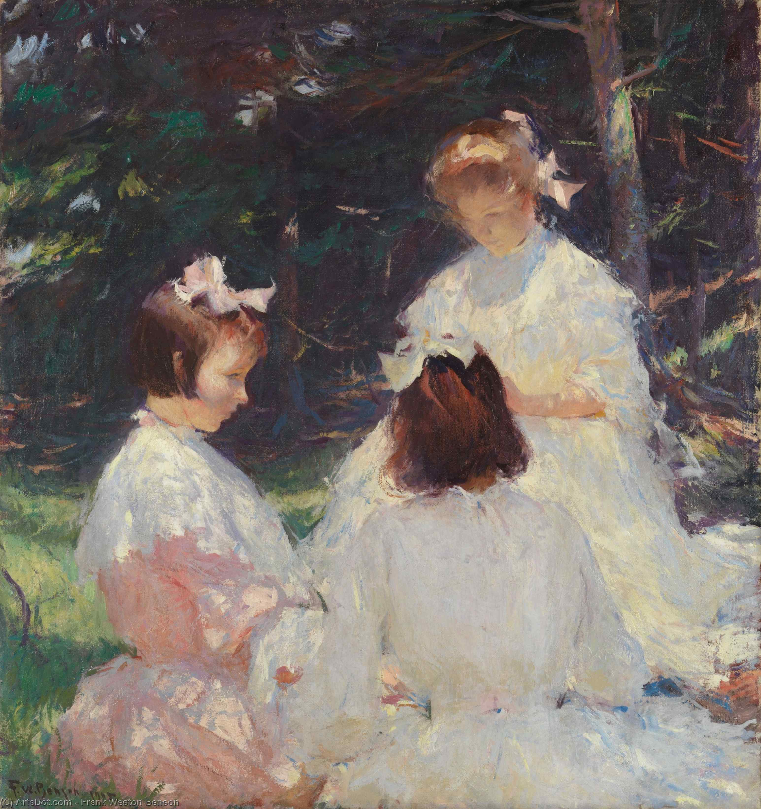 Children in Woods, Oil by Frank Weston Benson (1862-1951, United States)