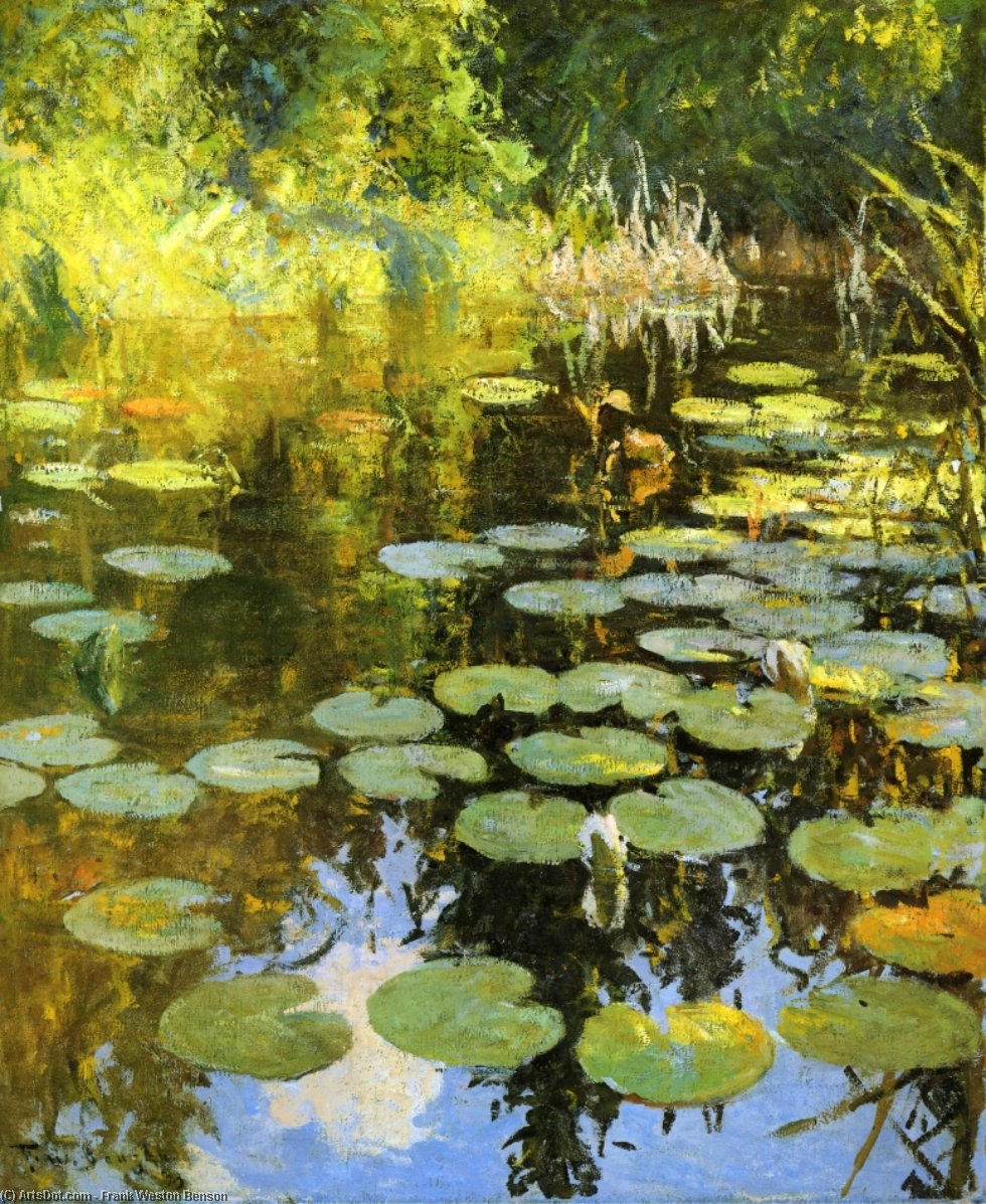 Lily Pond, Oil by Frank Weston Benson (1862-1951, United States)