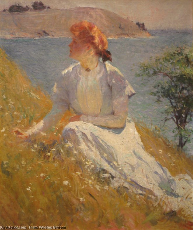Margaret Strong, Oil by Frank Weston Benson (1862-1951, United States)