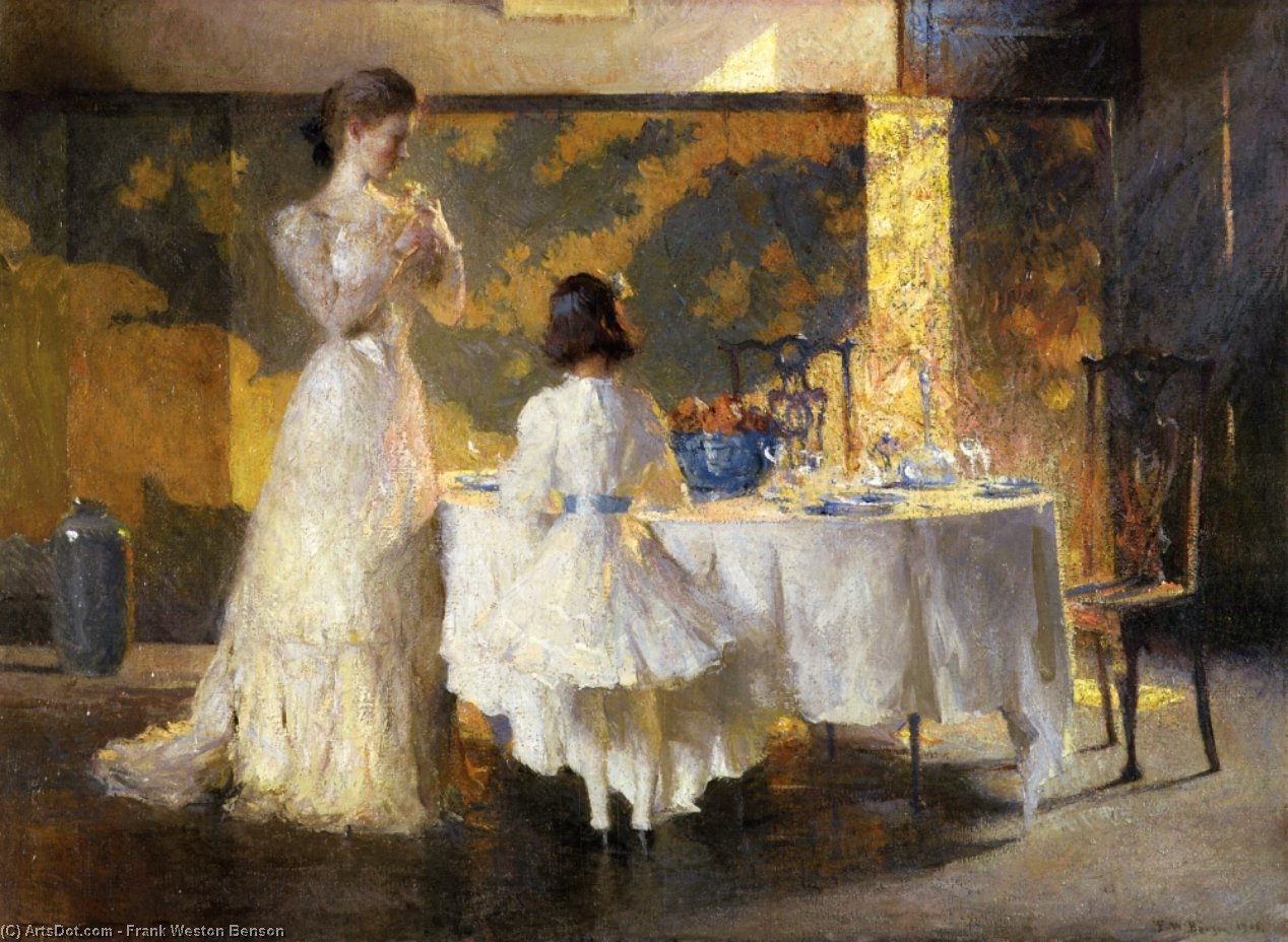 The Artist's Daughters (aka The Dining Room), Oil by Frank Weston Benson (1862-1951, United States)