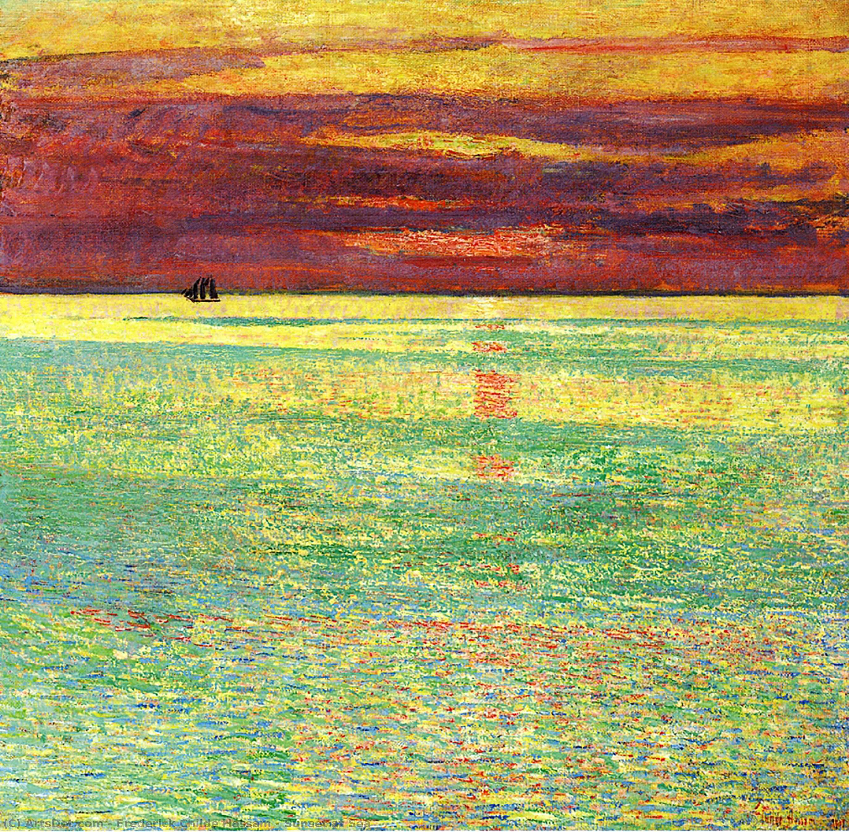 Sunset at Sea, 1911 by Frederick Childe Hassam (1859-1935, United States) | Museum Art Reproductions Frederick Childe Hassam | ArtsDot.com