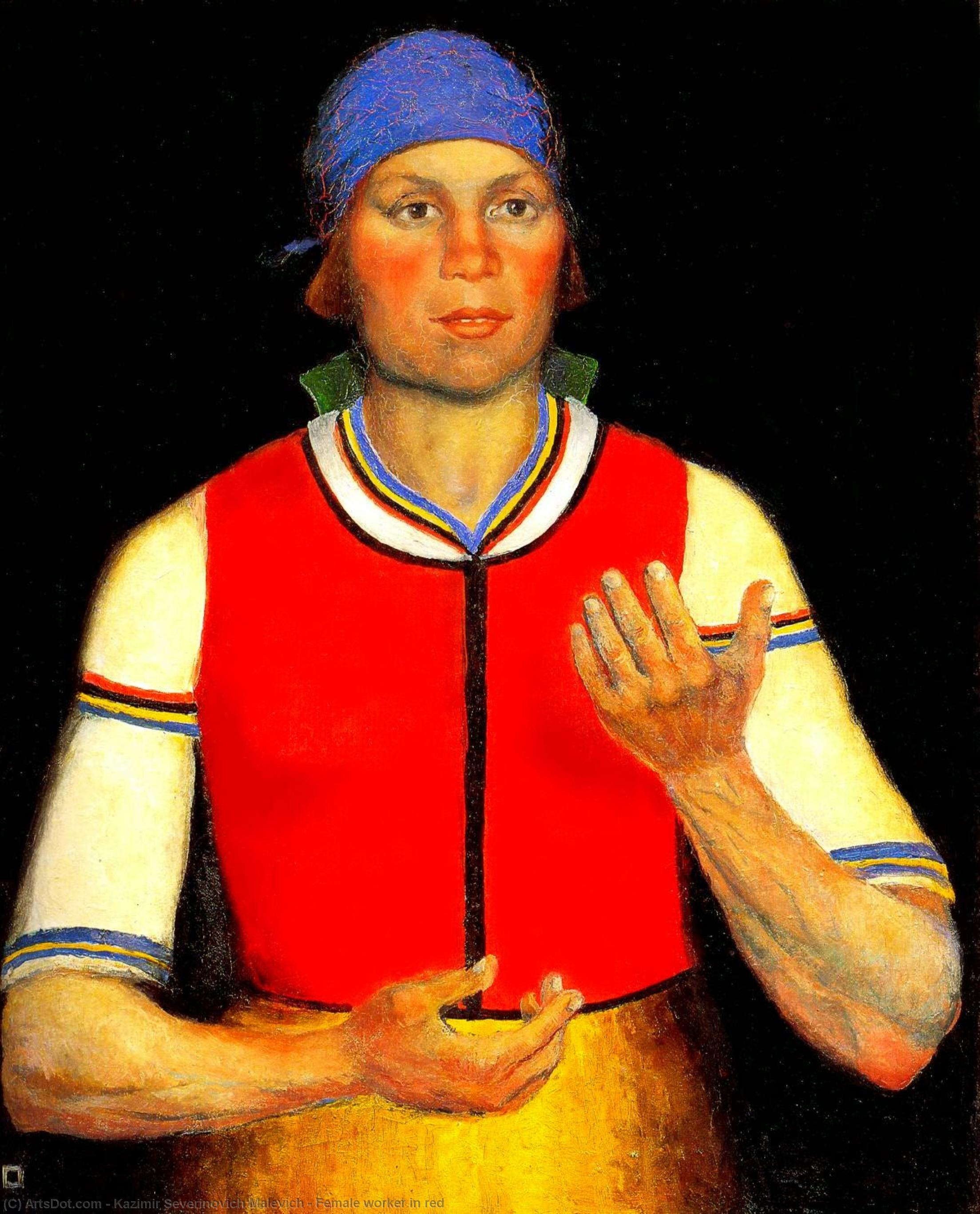 Female worker in red by Kazimir Severinovich Malevich (1879-1935, Ukraine) | Art Reproduction | ArtsDot.com