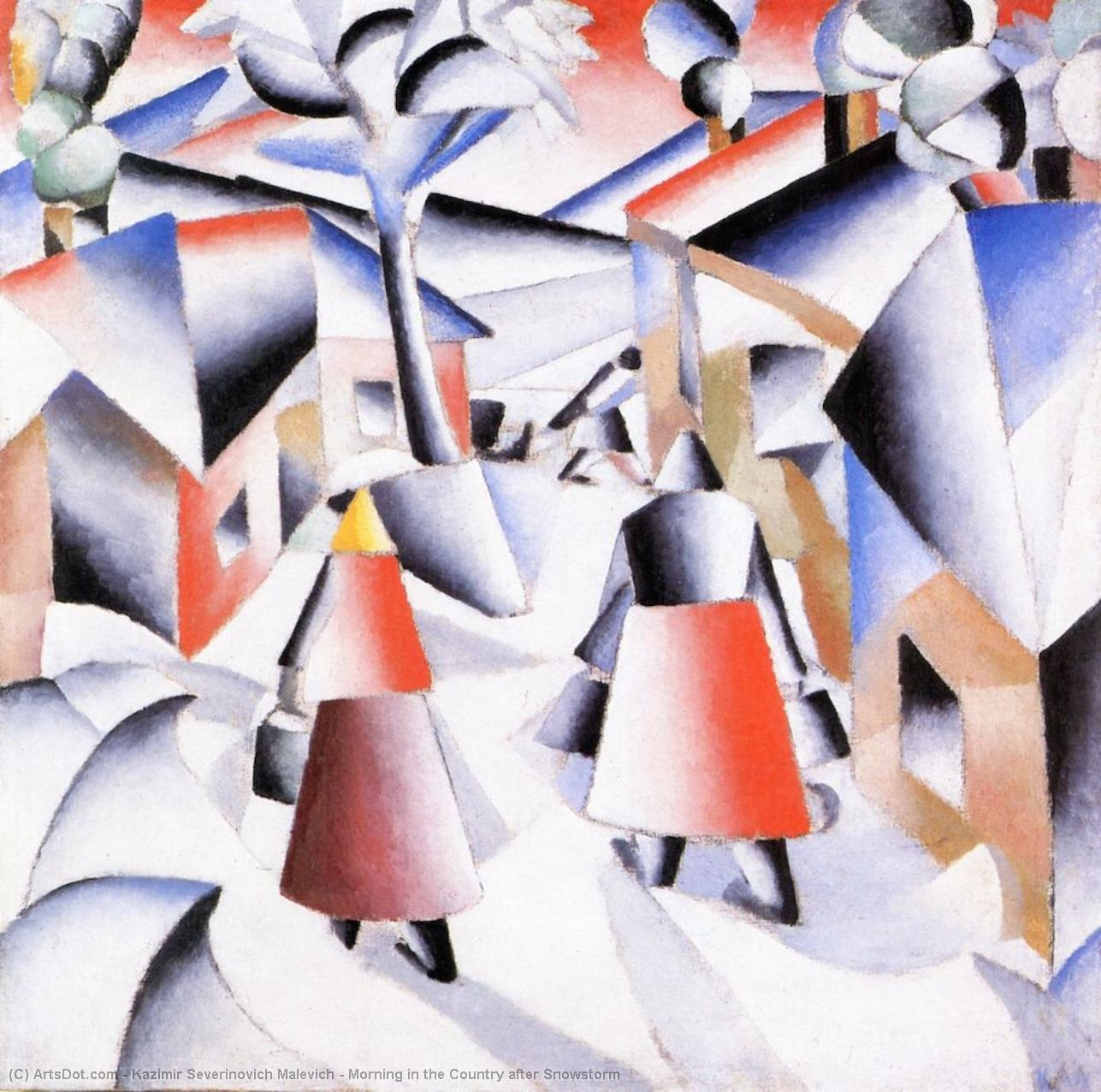 Morning in the Country after Snowstorm by Kazimir Severinovich Malevich (1879-1935, Ukraine) | Art Reproduction | ArtsDot.com