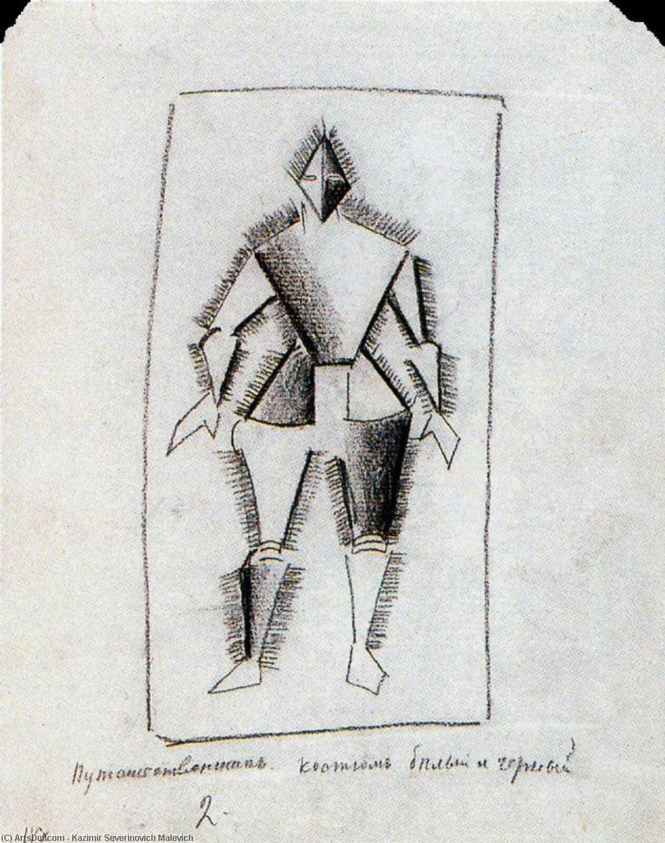 Traveler by Kazimir Severinovich Malevich (1879-1935, Ukraine) | Oil Painting | ArtsDot.com
