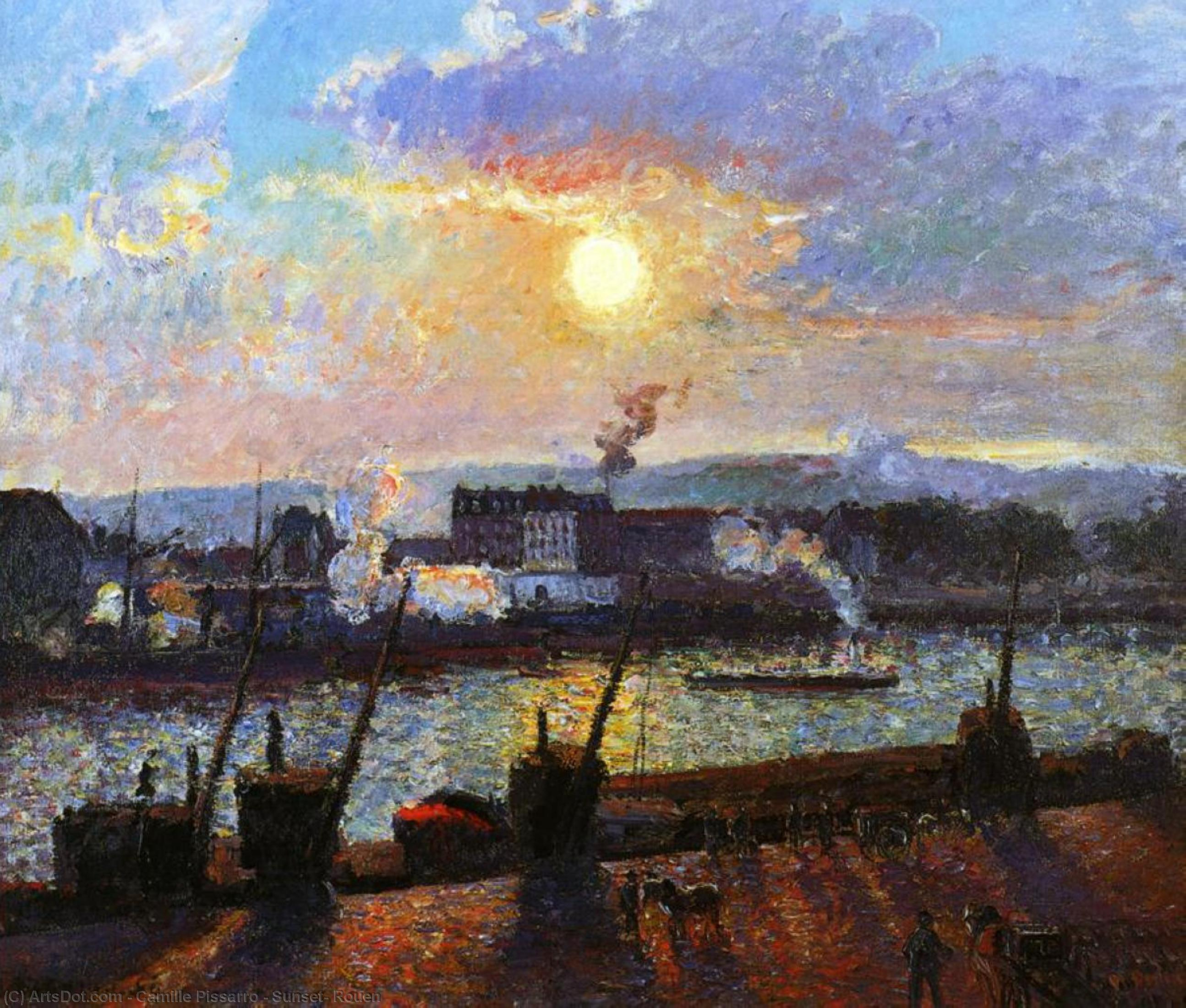 Sunset, Rouen, 1898 by Camille Pissarro (1830-1903, United States) | Paintings Reproductions Camille Pissarro | ArtsDot.com