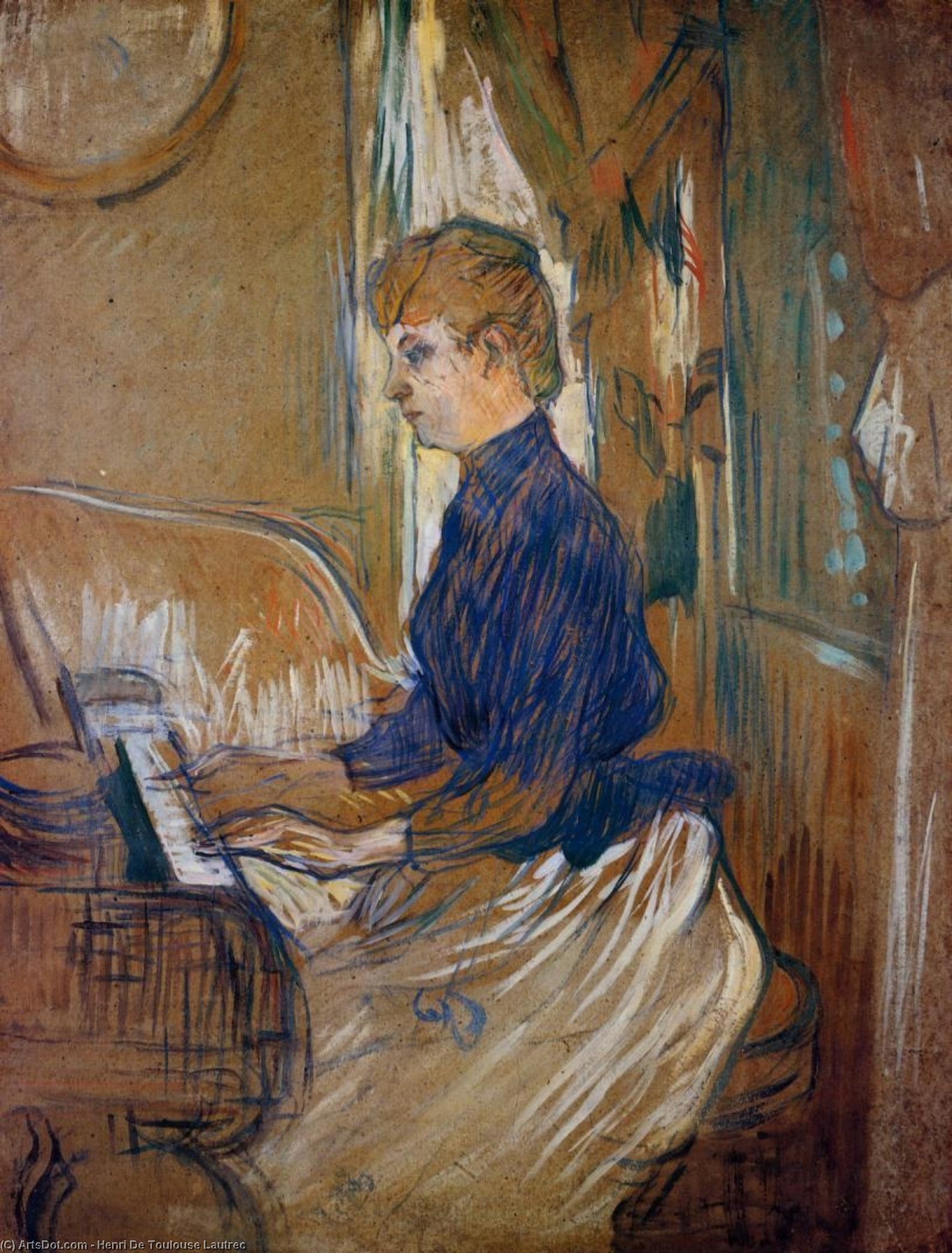 At the Piano - Madame Juliette Pascal in the Salon of the Chateau de Malrome, Oil by Henri De Toulouse Lautrec (1864-1901, France)