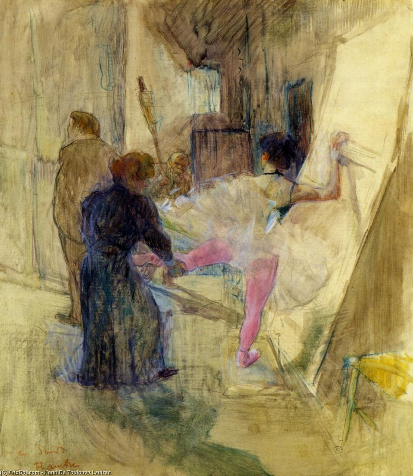 Behind the Scenes, 1899 by Henri De Toulouse Lautrec (1864-1901, France)