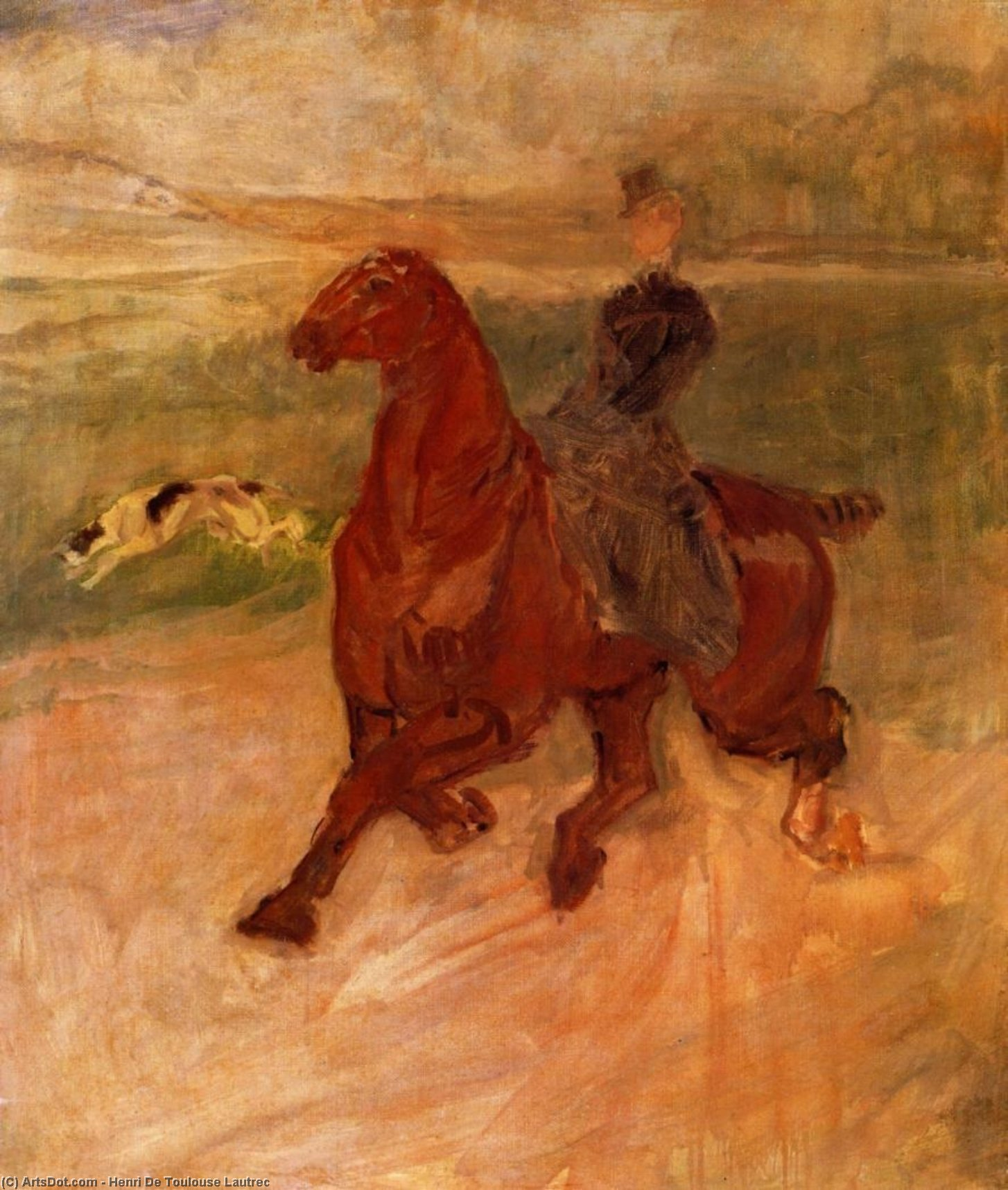 Horsewoman and Dog, Oil On Canvas by Henri De Toulouse Lautrec (1864-1901, France)