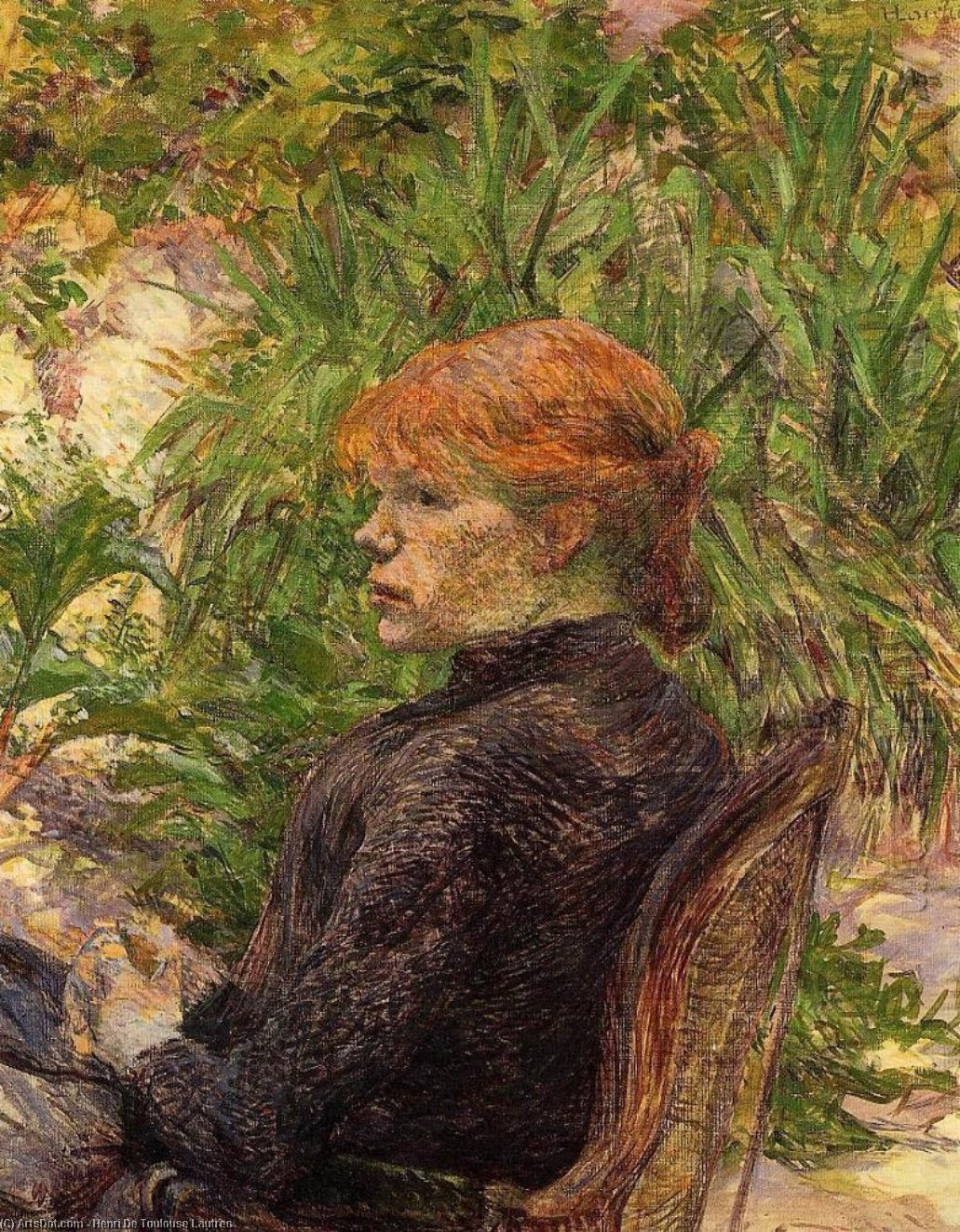 Red Haired Woman Seated in the Garden of M. Forest, Oil On Canvas by Henri De Toulouse Lautrec (1864-1901, France)