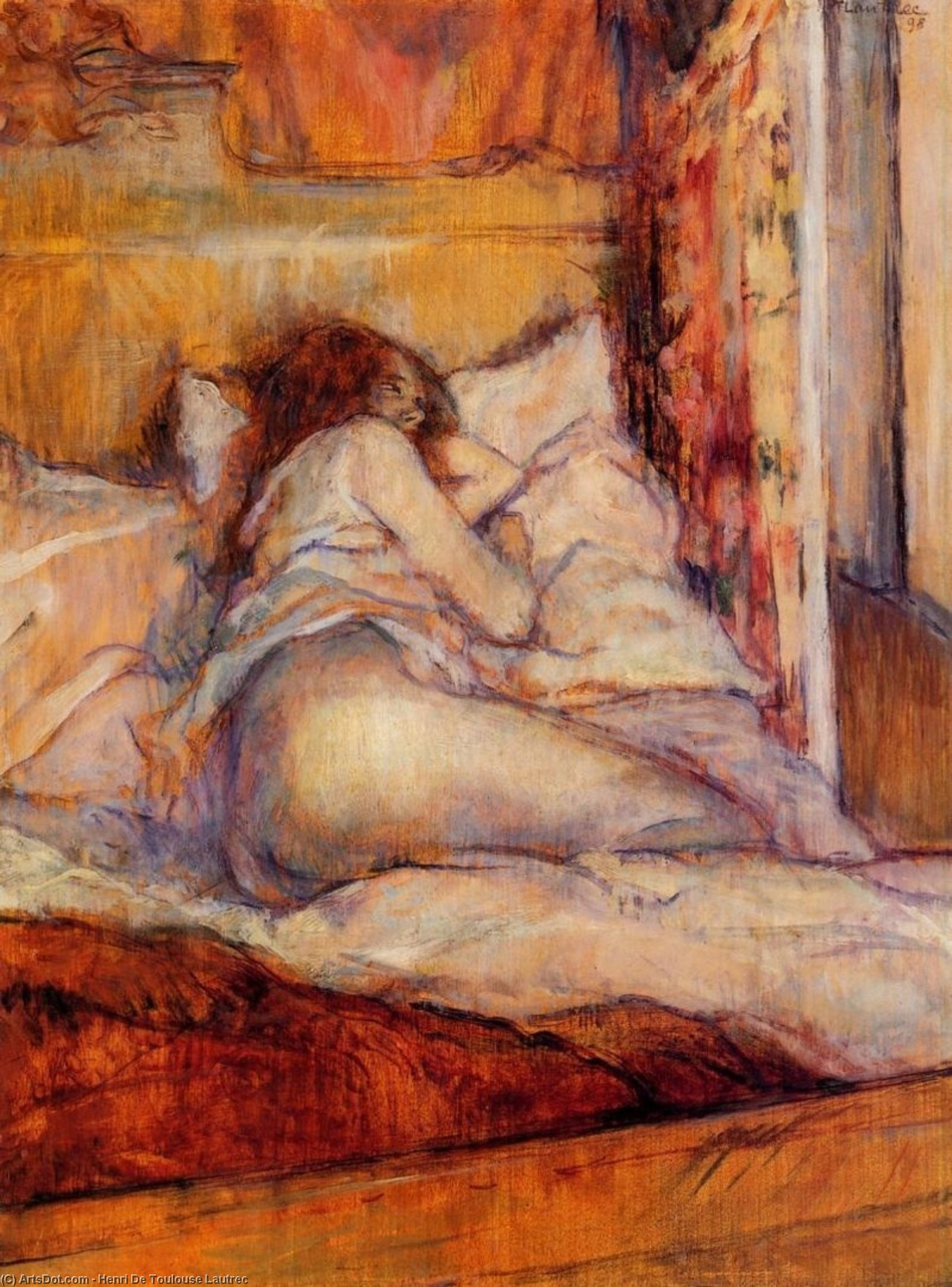 The Bed, Oil On Panel by Henri De Toulouse Lautrec (1864-1901, France)