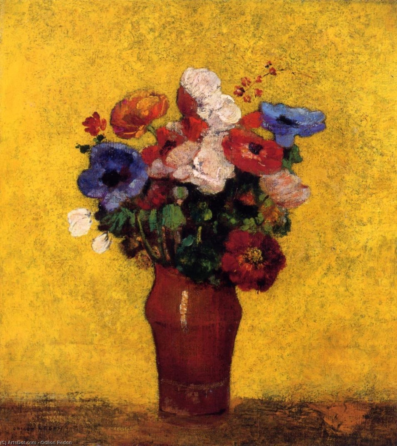 Flowers by Odilon Redon (1840-1916, France) | Museum Art Reproductions | ArtsDot.com