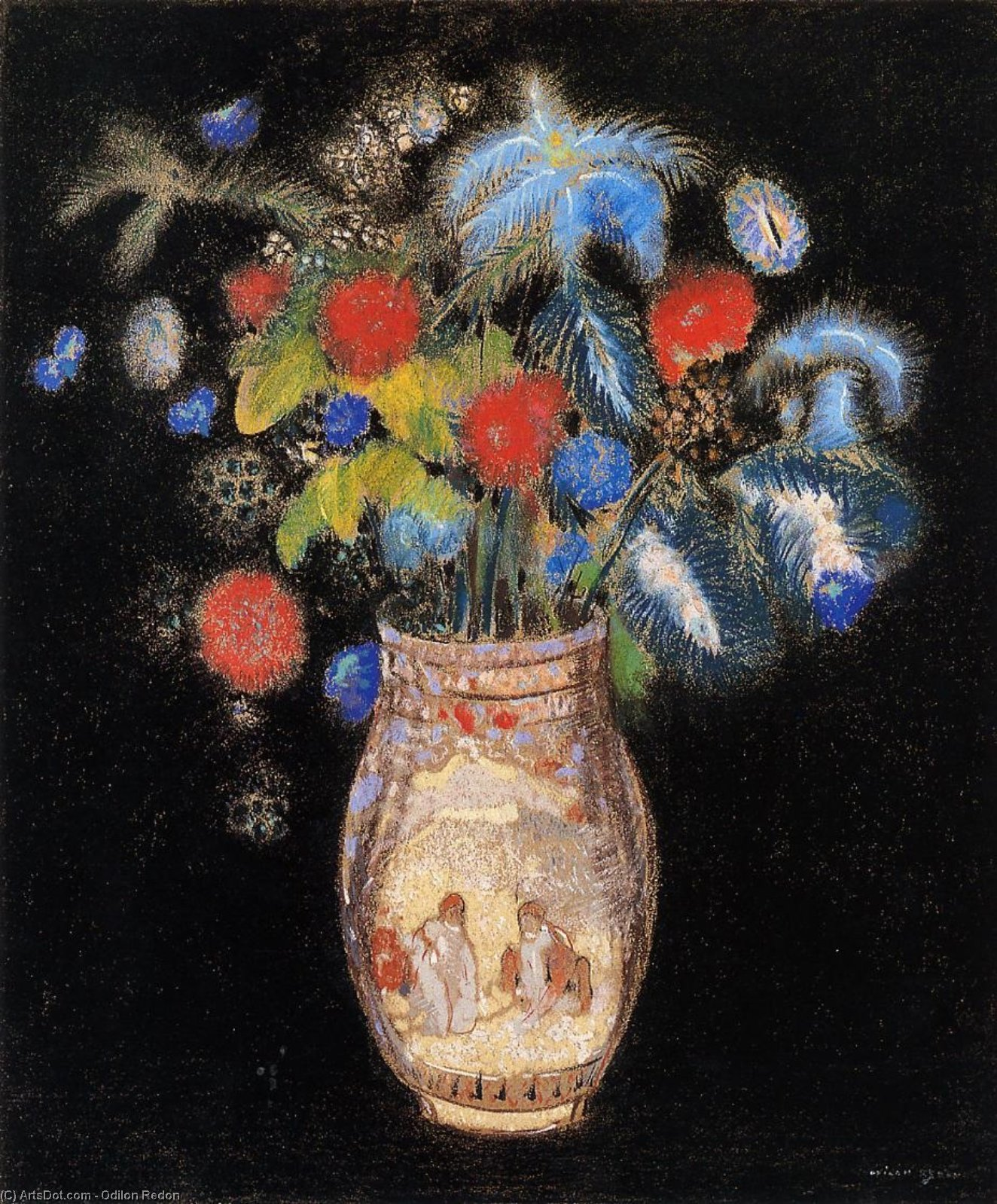Large Boquet on a Black Background, 1910 by Odilon Redon (1840-1916, France) | Museum Quality Reproductions | ArtsDot.com