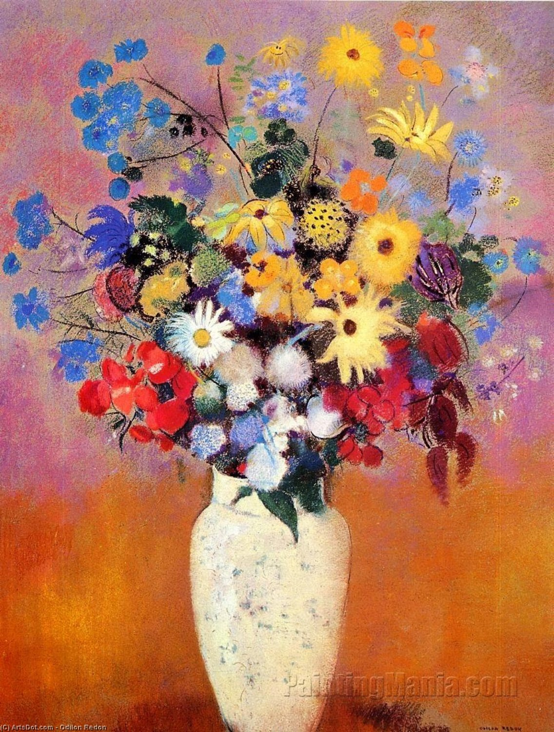Order Painting Copy : White Vase with Flowers, 1916 by Odilon Redon (1840-1916, France) | ArtsDot.com