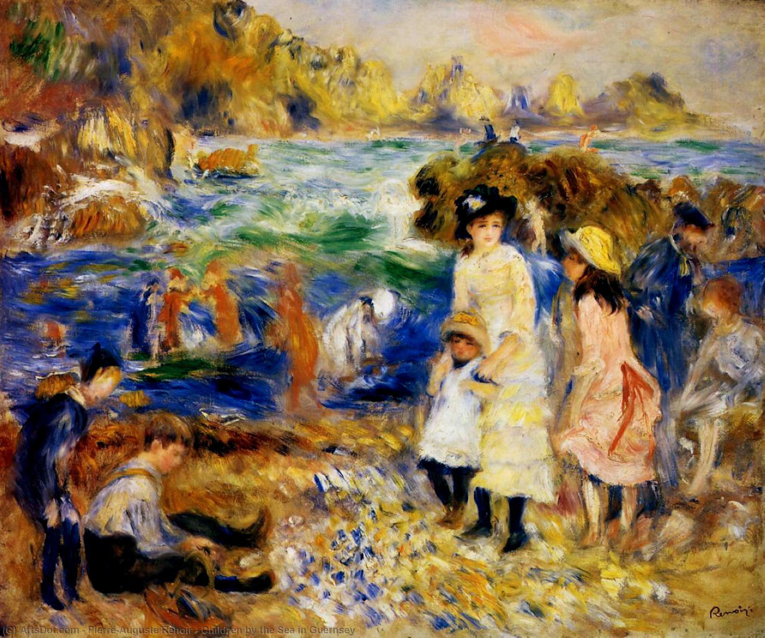 Children by the Sea in Guernsey, 1883 by Pierre-Auguste Renoir (1841-1919, France) | Museum Art Reproductions Pierre-Auguste Renoir | ArtsDot.com