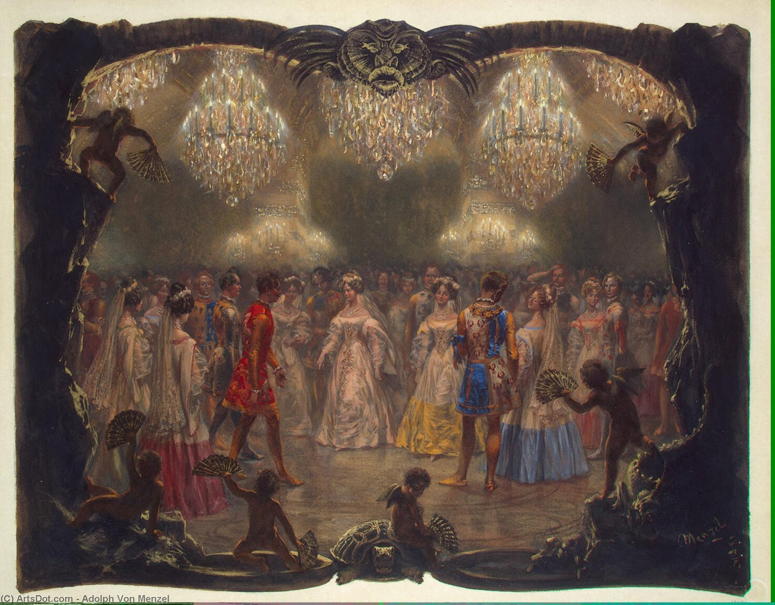 Ball in the New Palace. 1829 by Adolph Menzel (1815-1905, Poland)