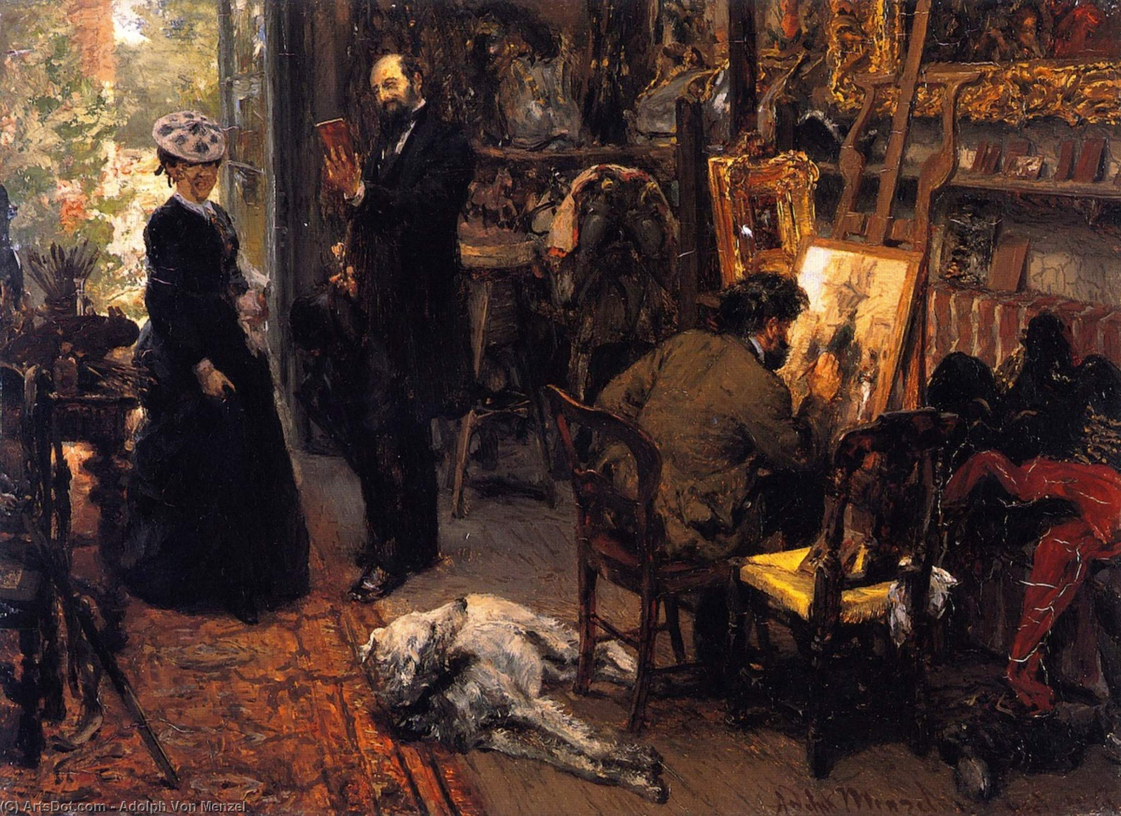 Meissonier in his Studio at Poissy, Oil On Panel by Adolph Menzel (1815-1905, Poland)