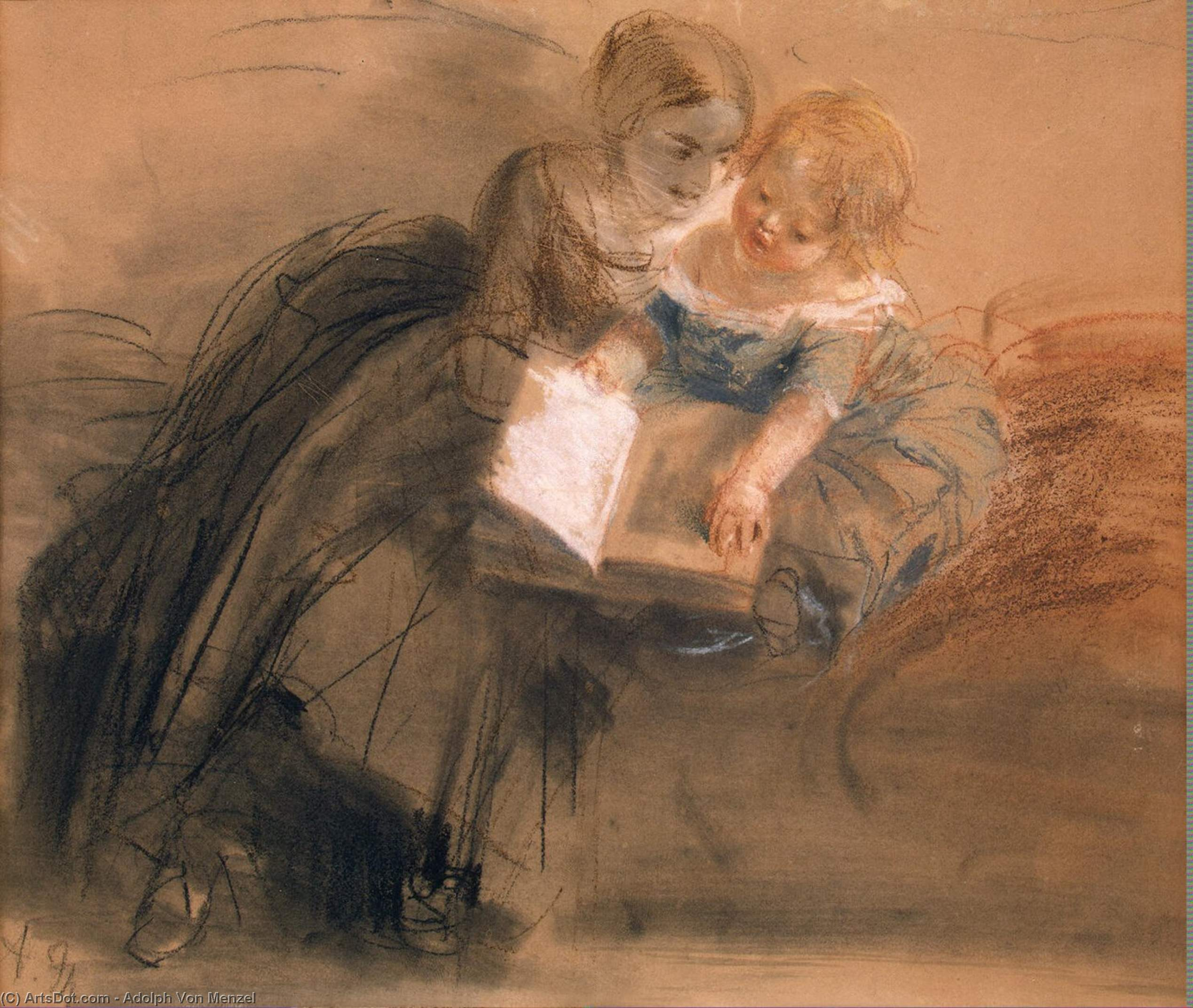 Young Woman with a Child, Drawing by Adolph Menzel (1815-1905, Poland)