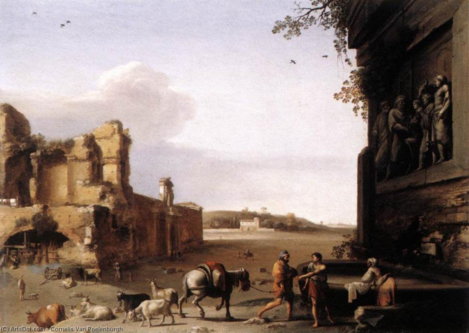 Ruins of Ancient Rome, Oil On Copper by Cornelis Van Poelenburgh (1595-1667, Netherlands)