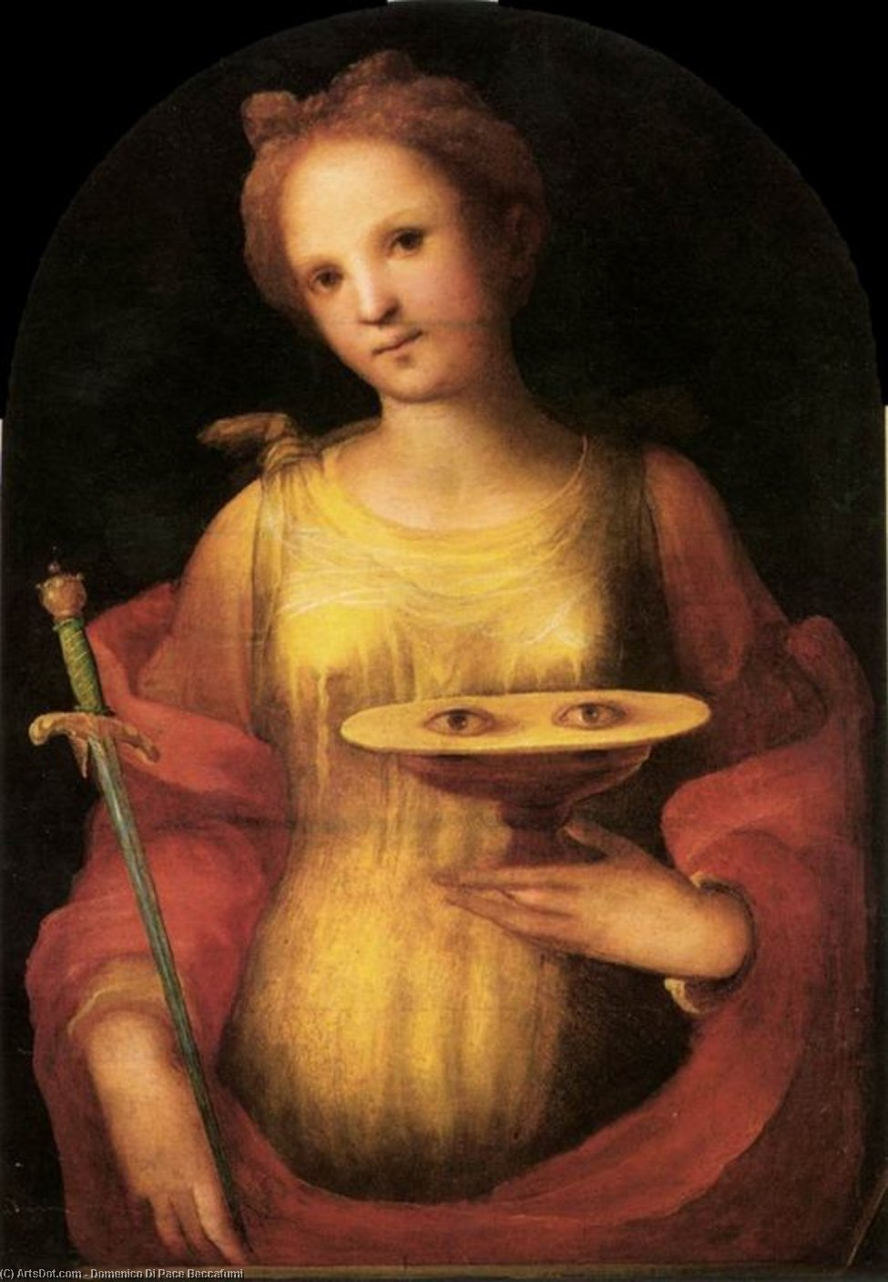 St Lucy, Drawing by Domenico Di Pace Beccafumi (1486-1551, Italy)