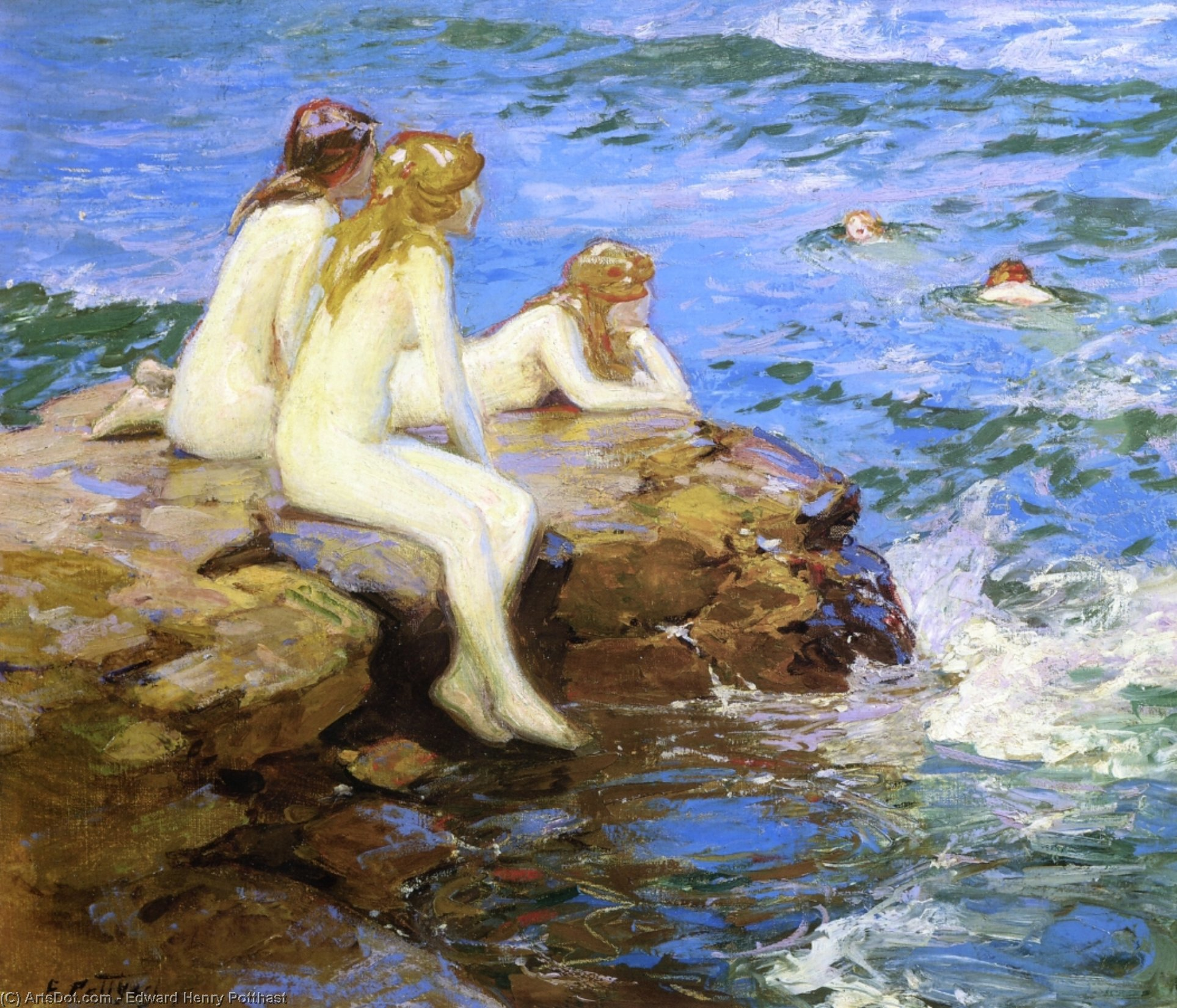 Sea Numphs by Edward Henry Potthast (1857-1927, United States) | Museum Art Reproductions Edward Henry Potthast | ArtsDot.com