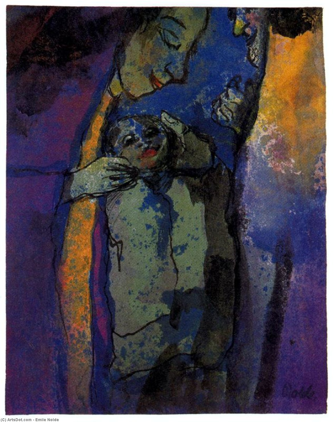 Family (Drak Blue and Green) by Emile Nolde (1867-1956, Germany)