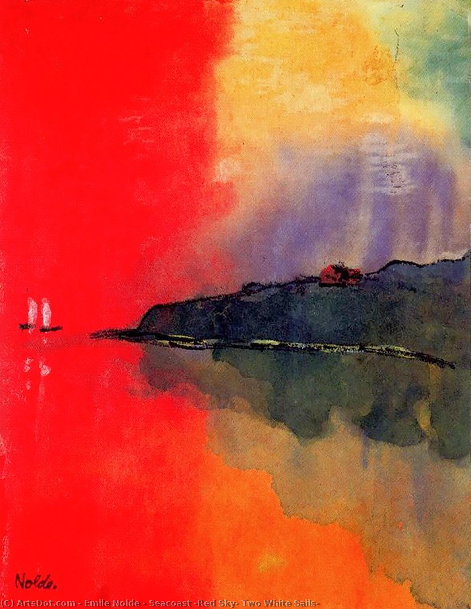 Seacoast (Red Sky, Two White Sails) by Emile Nolde (1867-1956, Germany) | Painting Copy | ArtsDot.com
