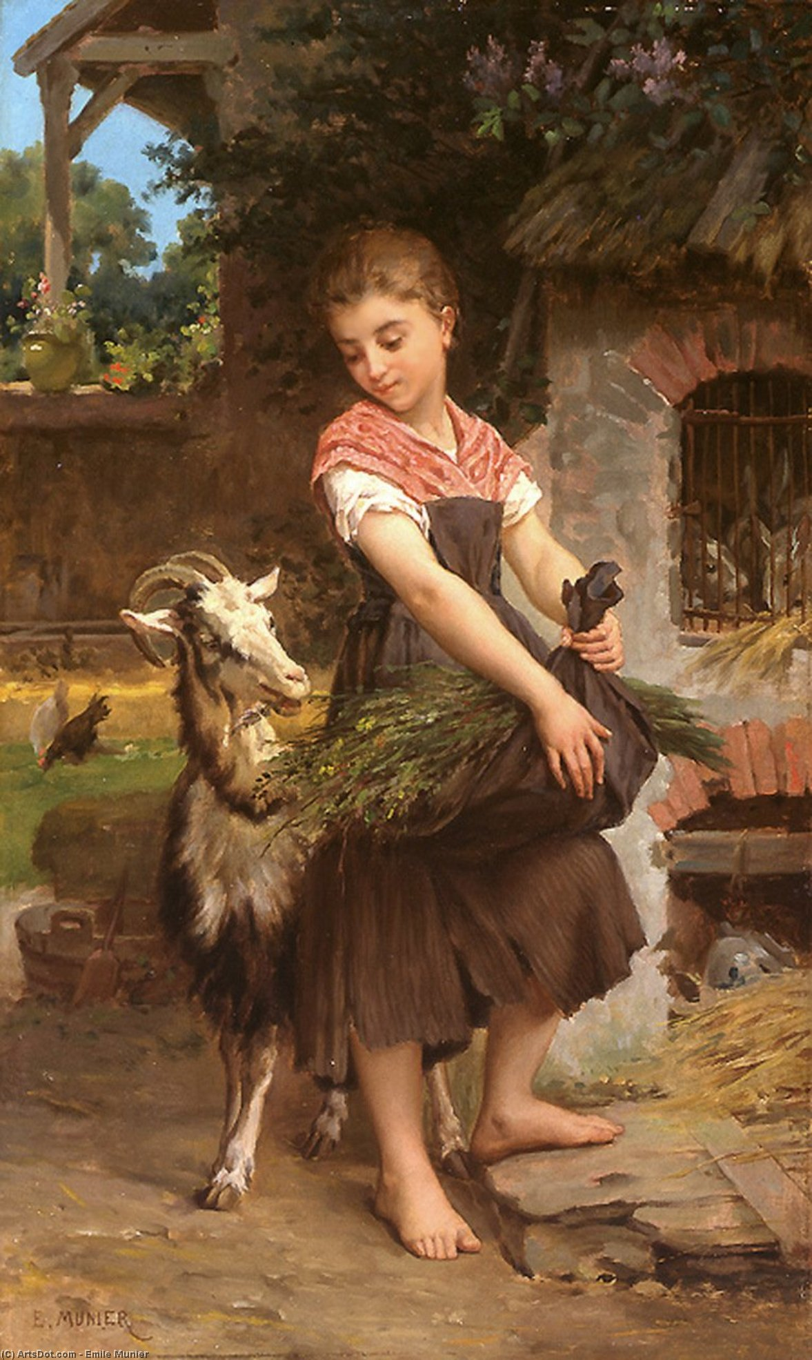 Farm Girl with her Pet Billy Goat by Emile Munier (1840-1895, France)