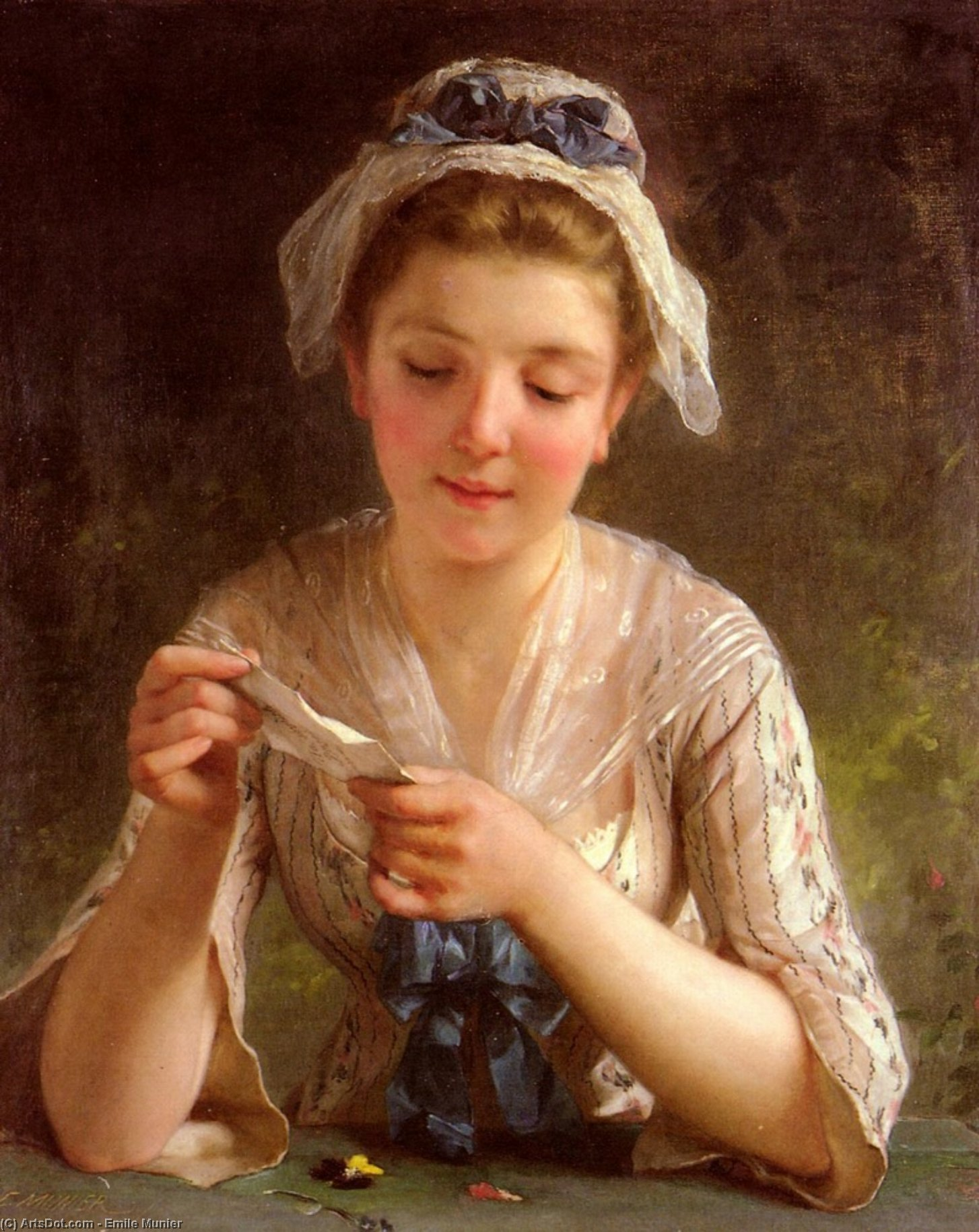 The letter by Emile Munier (1840-1895, France)