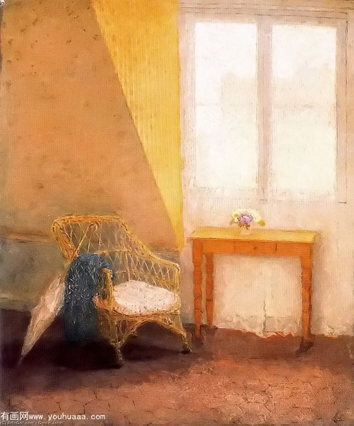 A Corner of the Artist' Room in Paris by Gwen John (1876-1939, United States)