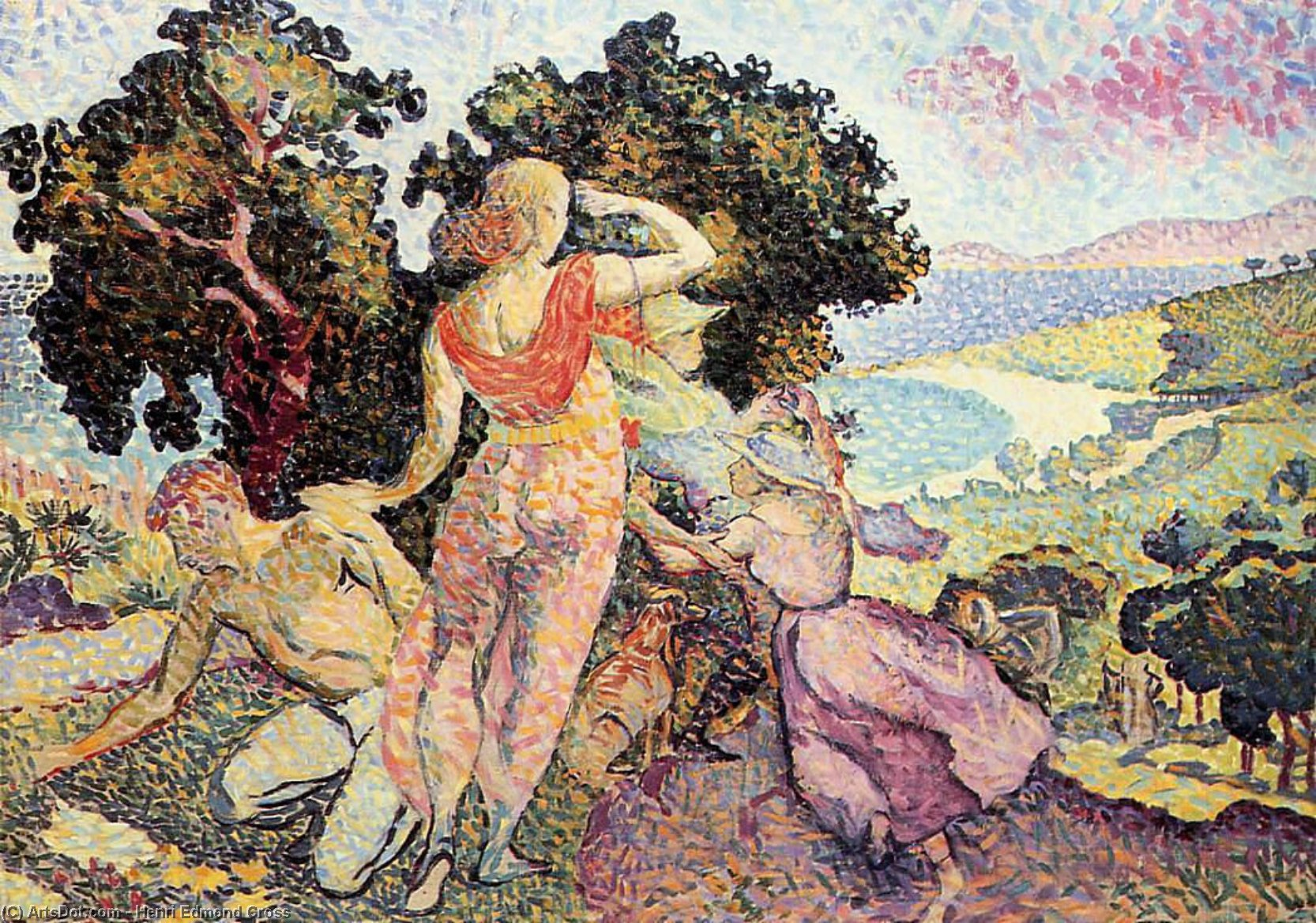 Study for 'Excuirsion', Oil On Canvas by Henri Edmond Cross (1856-1910, France)