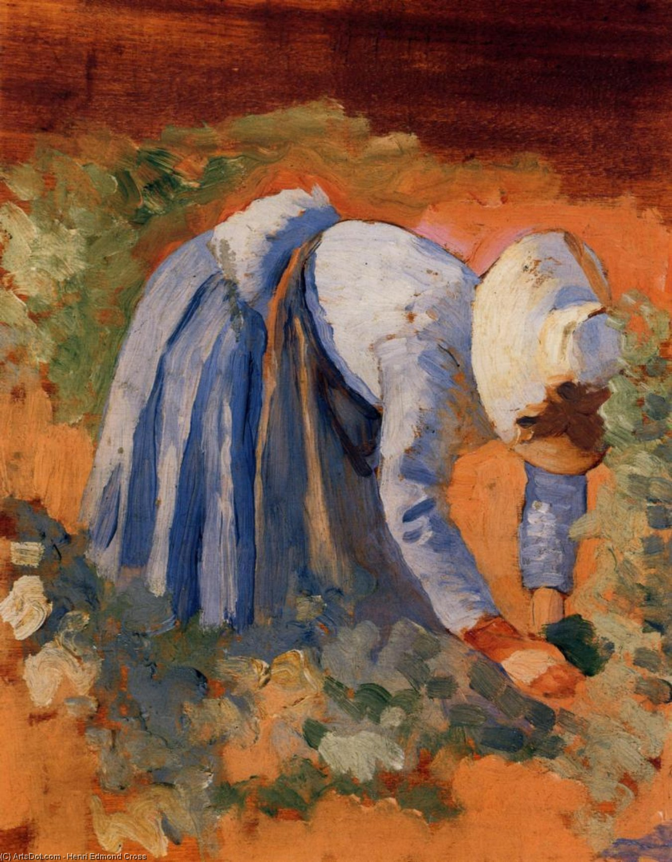 Study for 'The Grape Pickers', Oil On Panel by Henri Edmond Cross (1856-1910, France)