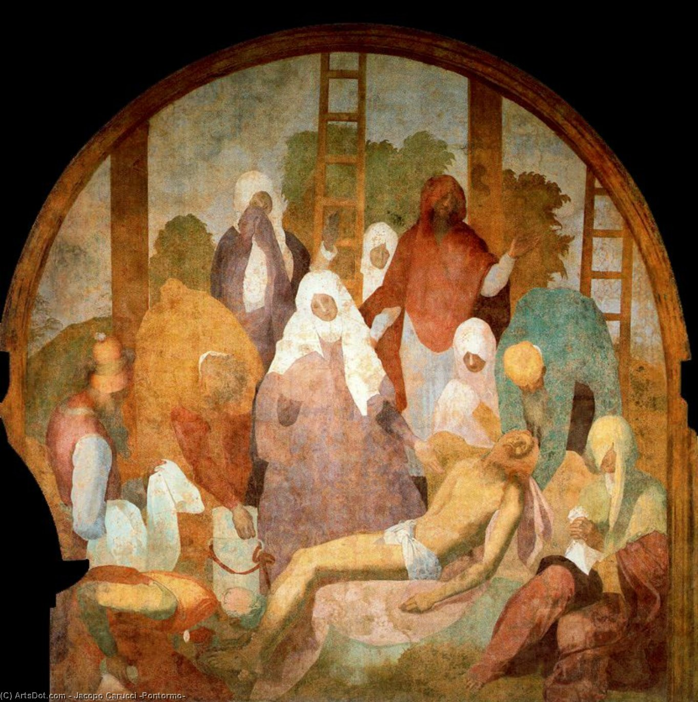 Buy Museum Art Reproductions : Lamentation by Jacopo Carucci (Pontormo) (1494-1557, Italy) | ArtsDot.com