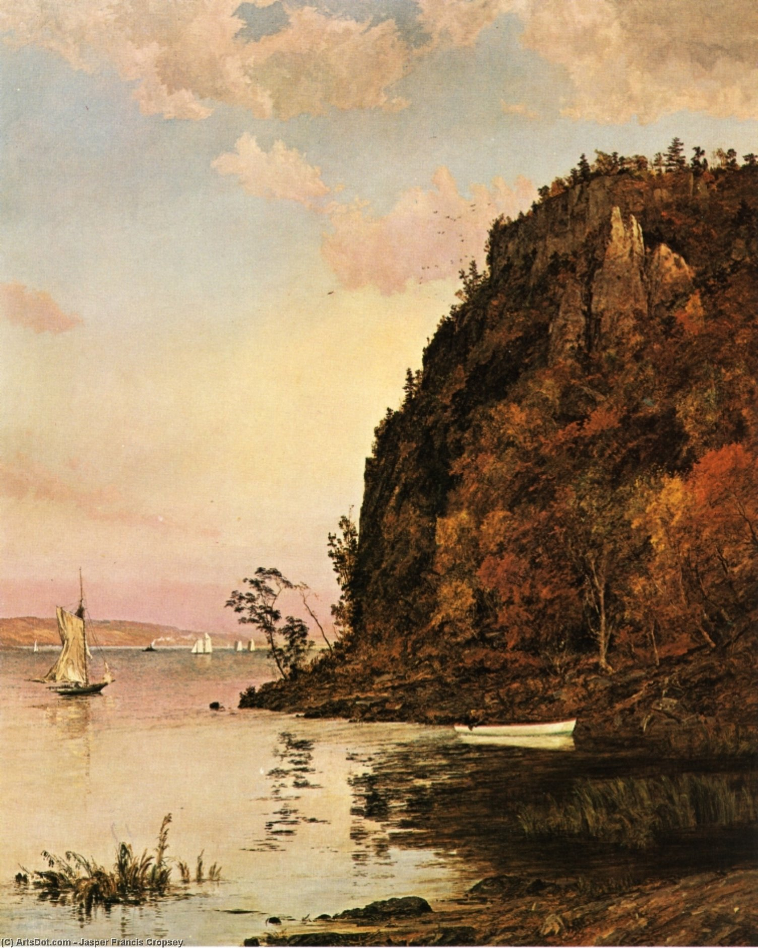 Under the Palisades, in October, 1895 by Jasper Francis Cropsey (1823-1900, United States) | ArtsDot.com